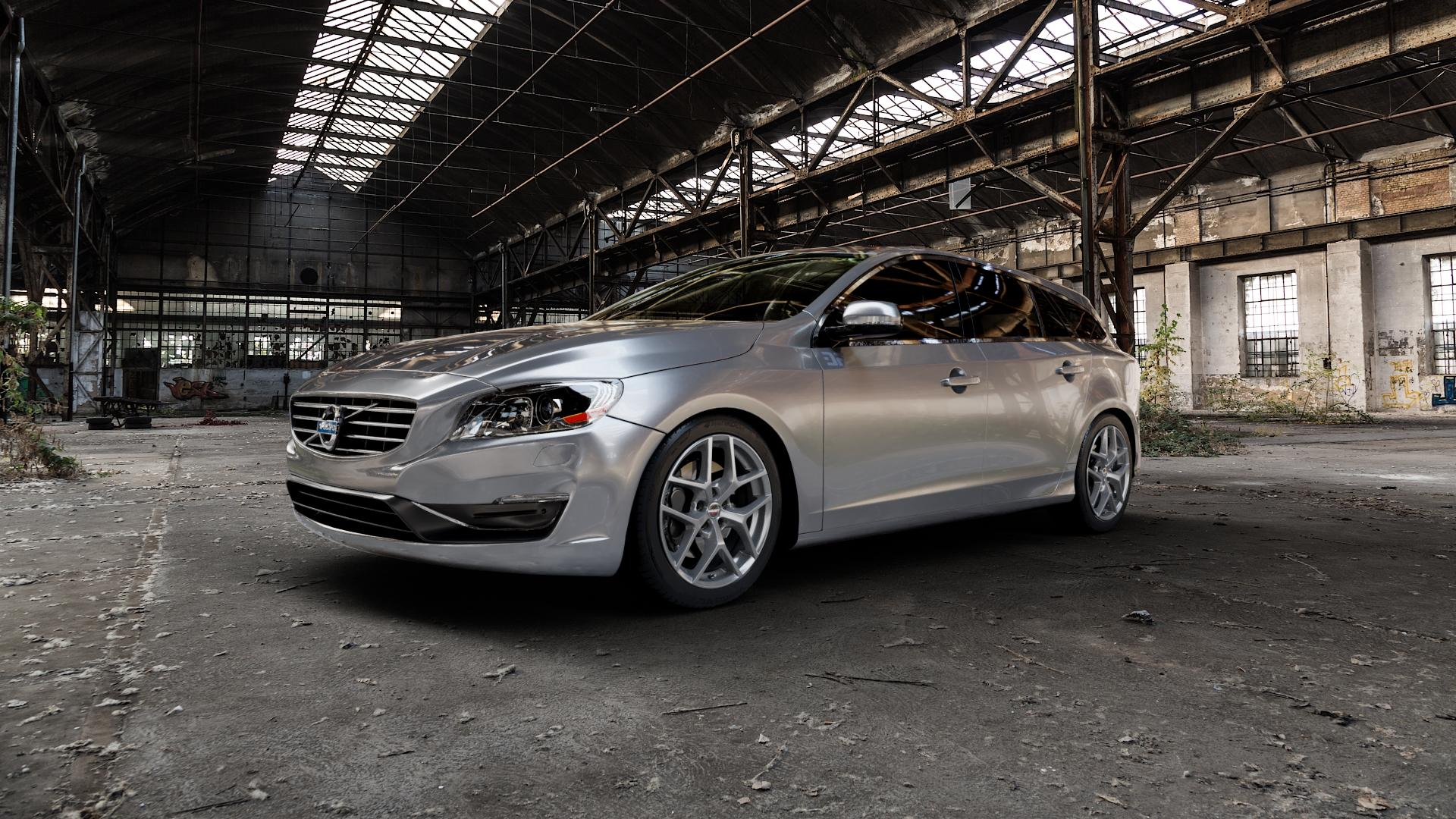 Borbet Y titan matt Felge mit Reifen grau in 18Zoll Winterfelge Alufelge auf silbernem Volvo V60 Typ G ⬇️ mit 15mm Tieferlegung ⬇️ Industriehalle 1 Camera_000