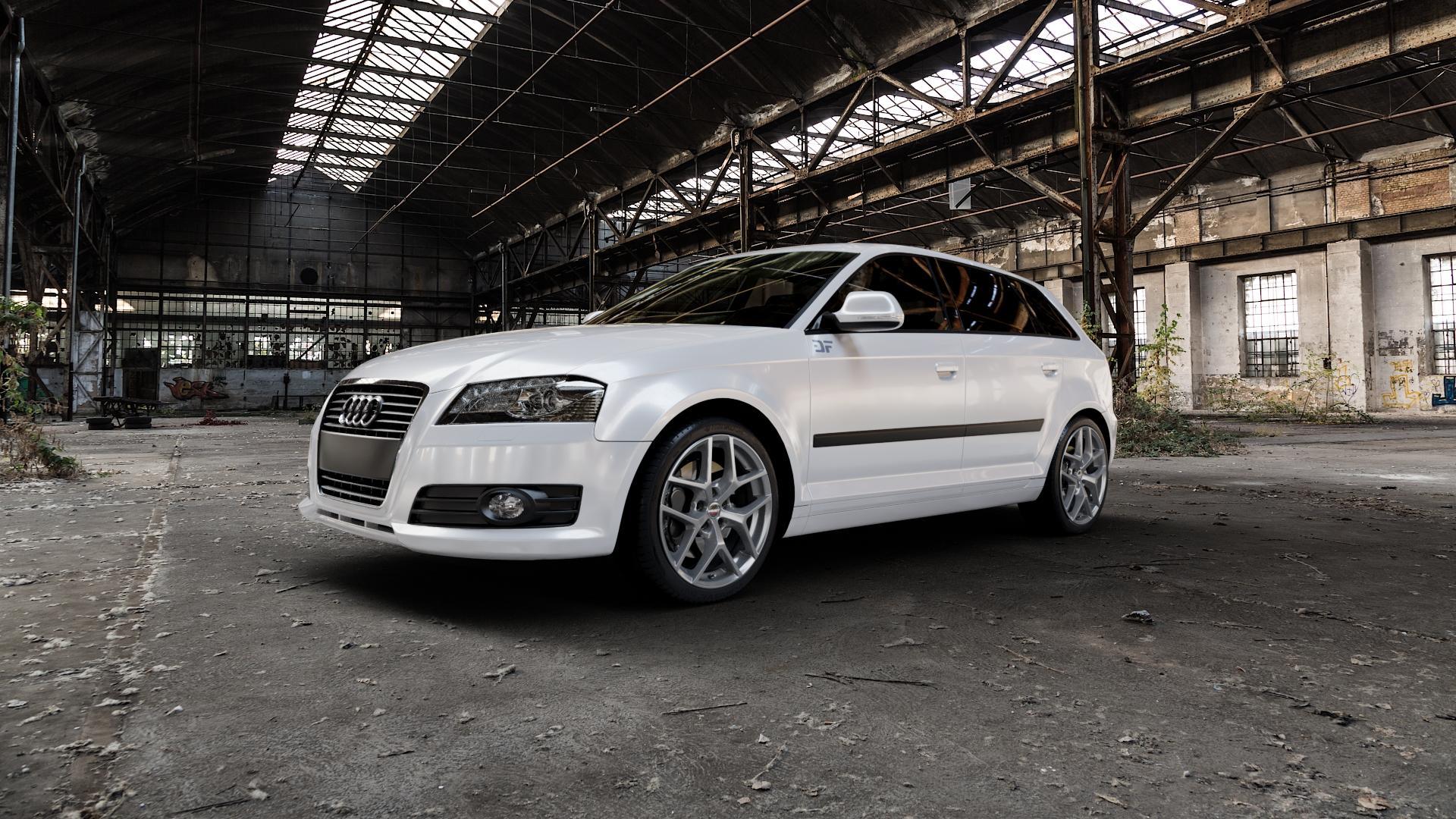 Borbet Y titan matt Felge mit Reifen grau in 18Zoll Winterfelge Alufelge auf weissem Audi A3 Typ 8P (Sportback) 1,6l 75kW (102 PS) 2,0l FSI 110kW (150 1,9l TDI 77kW (105 103kW (140 TFSI 147kW (200 85kW (116 100kW (136 1,8l 118kW (160 125kW (170 1,4l 92kW (125 120kW (163 quattro 3,2l V6 184kW (250 S3 195kW (265 1,2l 66kW (90 18