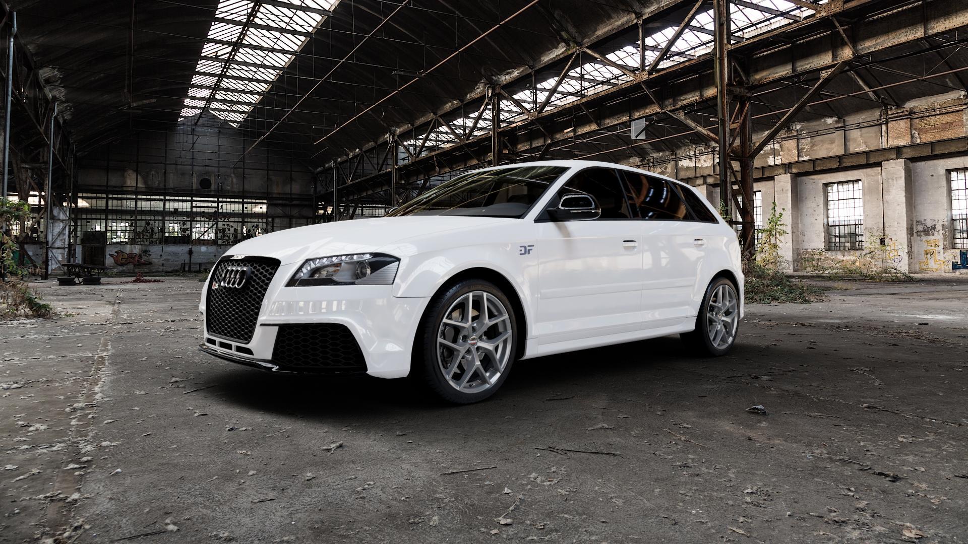 Borbet Y titan matt Felge mit Reifen grau in 18Zoll Winterfelge Alufelge auf weissem Audi A3 Typ 8P (Sportback) 2,5l RS3 quattro 250kW (340 PS) ⬇️ mit 15mm Tieferlegung ⬇️ Industriehalle 1 Camera_000