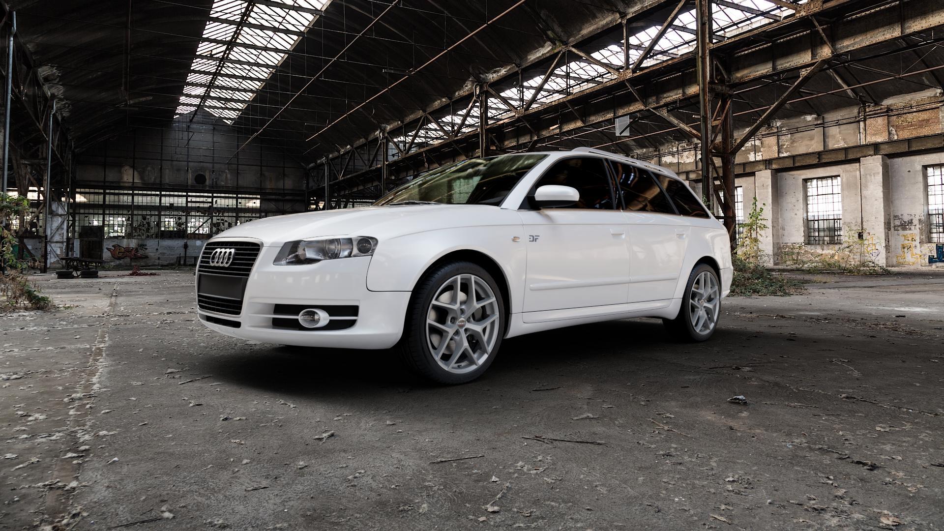 Borbet Y titan matt Felge mit Reifen grau in 18Zoll Winterfelge Alufelge auf weissem Audi A4 Typ 8ED/B7 (Avant) ⬇️ mit 15mm Tieferlegung ⬇️ Industriehalle 1 Camera_000