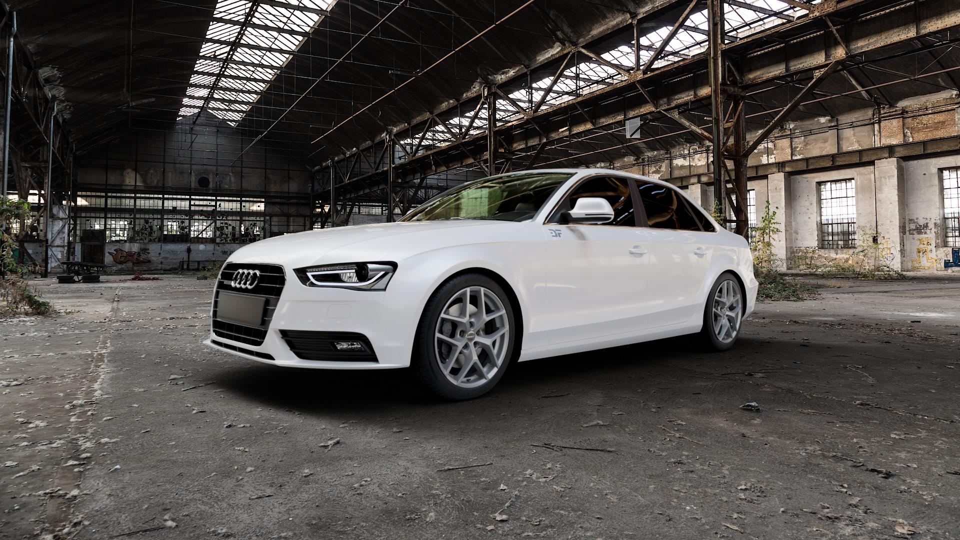 Borbet Y titan matt Felge mit Reifen grau in 18Zoll Winterfelge Alufelge auf weissem Audi A4 Typ 8K2/B8 (Limousine) Facelift ⬇️ mit 15mm Tieferlegung ⬇️ Industriehalle 1 Camera_000