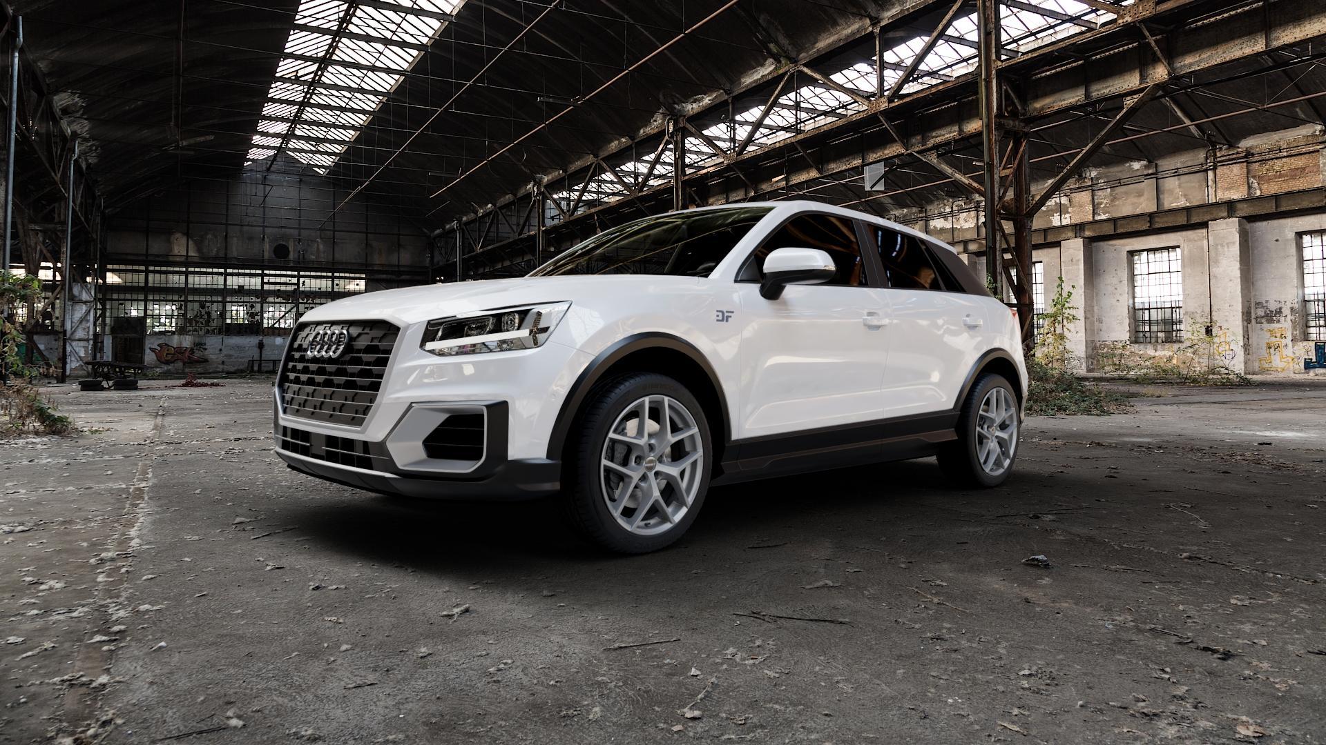 Borbet Y titan matt Felge mit Reifen grau in 18Zoll Winterfelge Alufelge auf weissem Audi Q2 Typ GA ⬇️ mit 15mm Tieferlegung ⬇️ Industriehalle 1 Camera_000