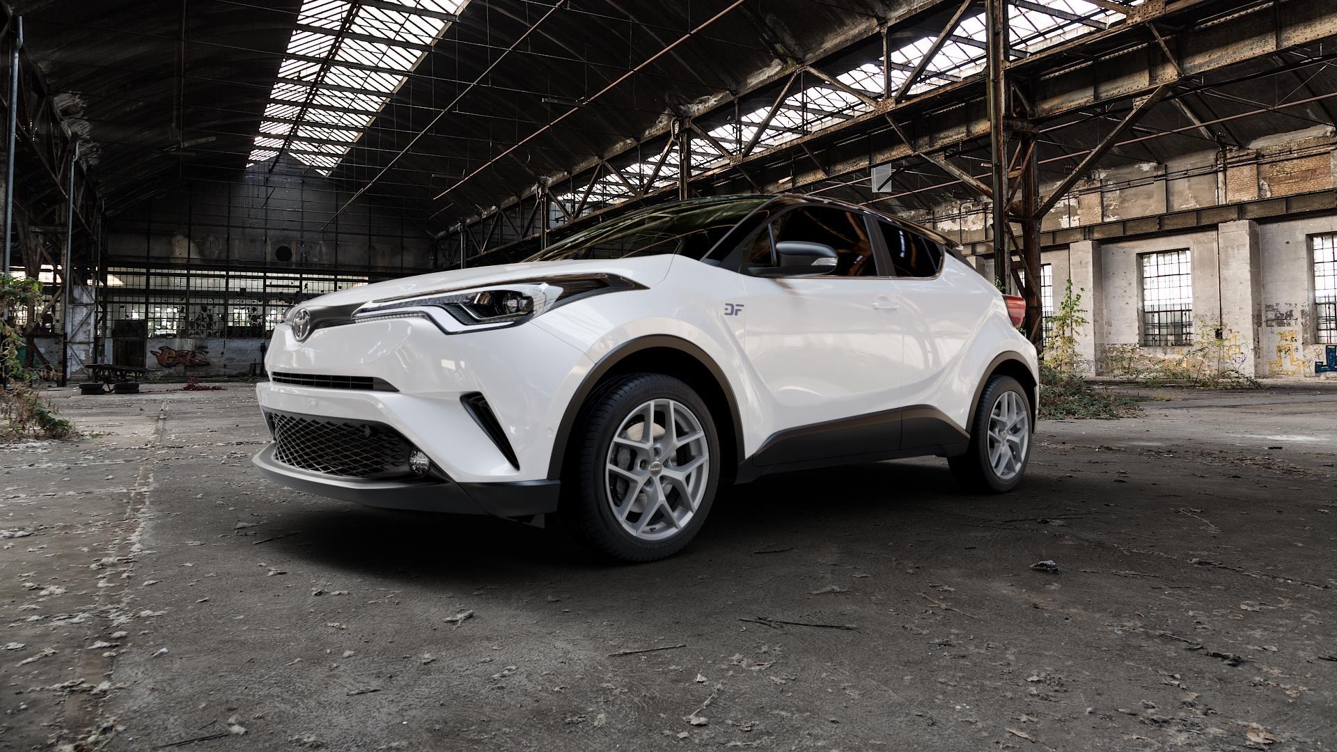 Borbet Y titan matt Felge mit Reifen grau in 18Zoll Winterfelge Alufelge auf weissem Toyota C-HR Typ AX1T(EU,M) AX1T(EU,M)-TMG ⬇️ mit 15mm Tieferlegung ⬇️ Industriehalle 1 Camera_000