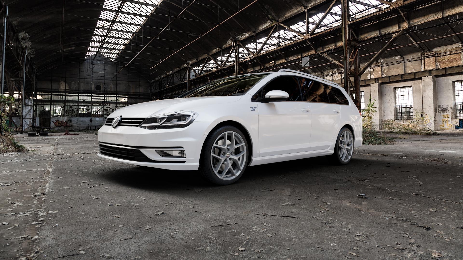 Borbet Y titan matt Felge mit Reifen grau in 18Zoll Winterfelge Alufelge auf weissem Volkswagen (VW) Golf 7 Variant Facelift ⬇️ mit 15mm Tieferlegung ⬇️ Industriehalle 1 Camera_000