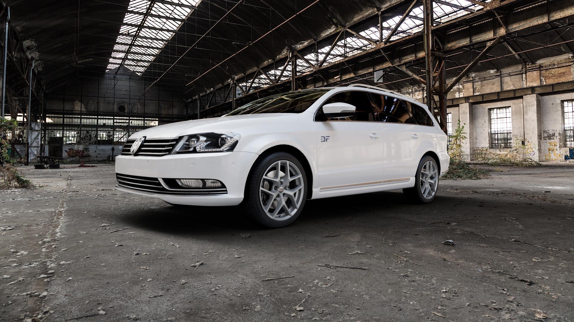 Borbet Y titan matt Felge mit Reifen grau in 18Zoll Winterfelge Alufelge auf weissem Volkswagen (VW) Passat 3C/B7 Variant ⬇️ mit 15mm Tieferlegung ⬇️ Industriehalle 1 Camera_000
