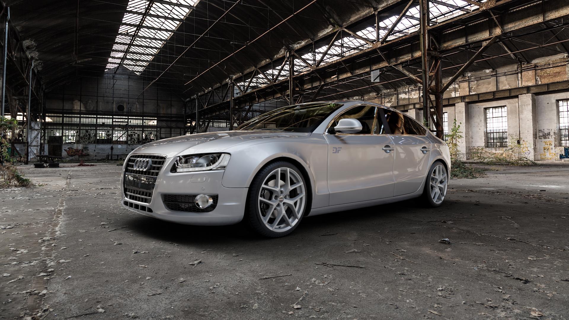 Borbet Y titan matt Felge mit Reifen grau in 19Zoll Winterfelge Alufelge auf silbernem Audi A5 Typ B8 (Sportback) ⬇️ mit 15mm Tieferlegung ⬇️ Industriehalle 1 Camera_000