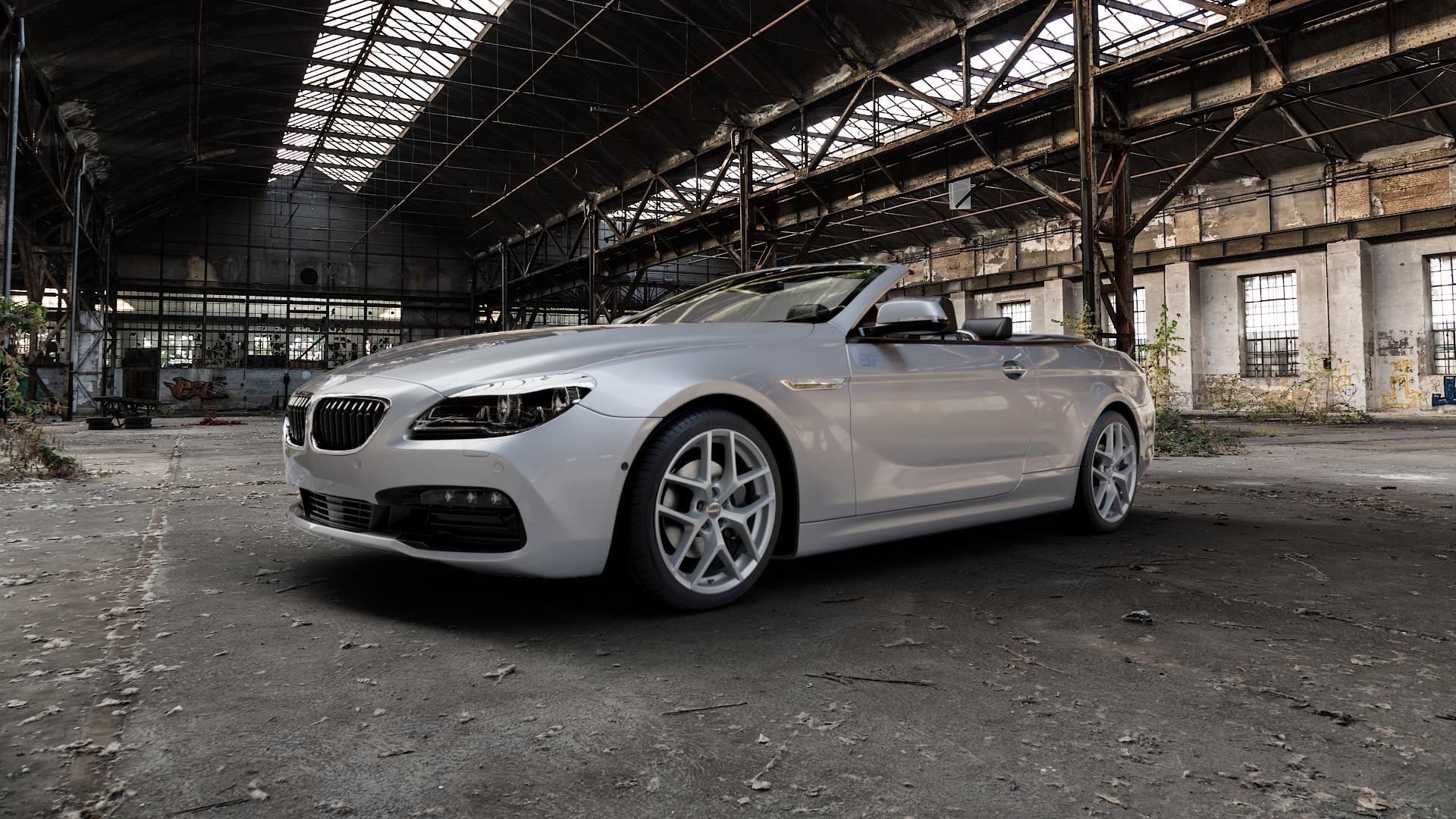 Borbet Y titan matt Felge mit Reifen grau in 19Zoll Winterfelge Alufelge auf silbernem BMW 640i Typ F12 (Cabrio) 640d 650i xDrive ⬇️ mit 15mm Tieferlegung ⬇️ Industriehalle 1 Camera_000