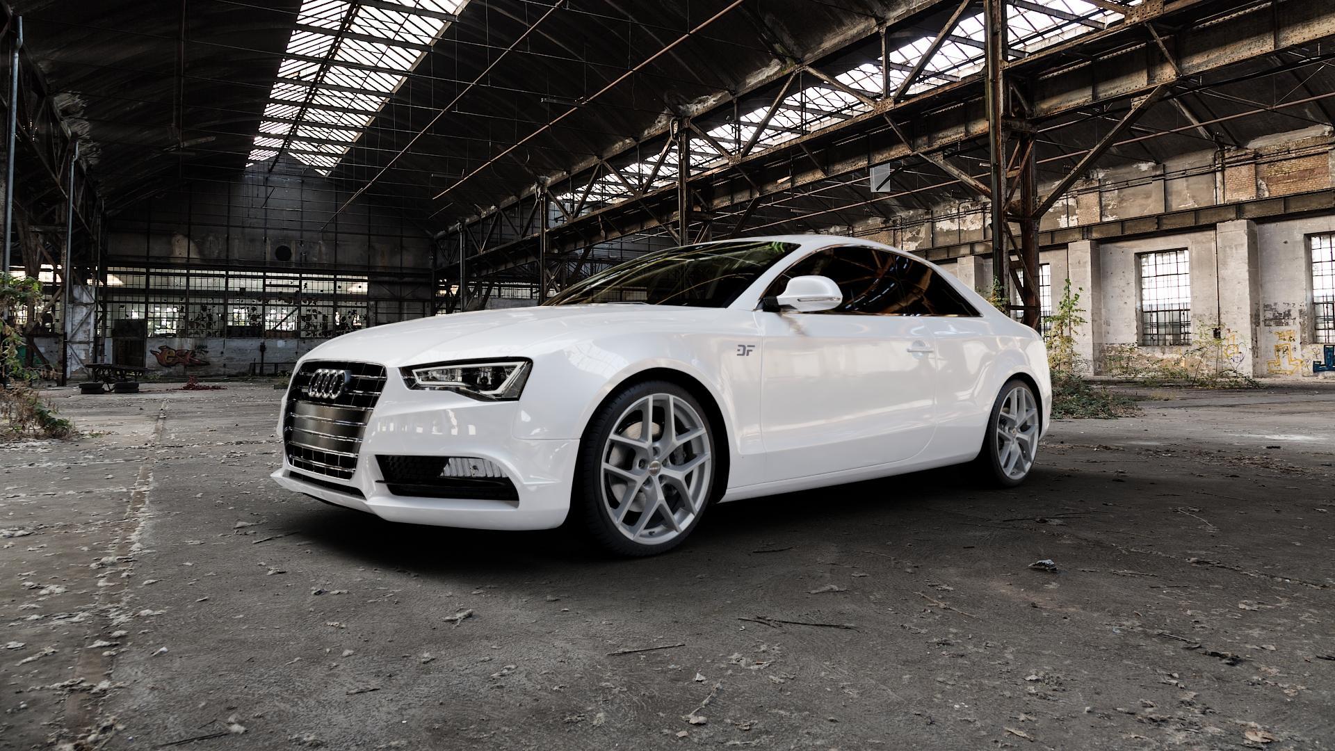 Borbet Y titan matt Felge mit Reifen grau in 19Zoll Winterfelge Alufelge auf weissem Audi A5 Typ B8 (Coupé) Facelift ⬇️ mit 15mm Tieferlegung ⬇️ Industriehalle 1 Camera_000