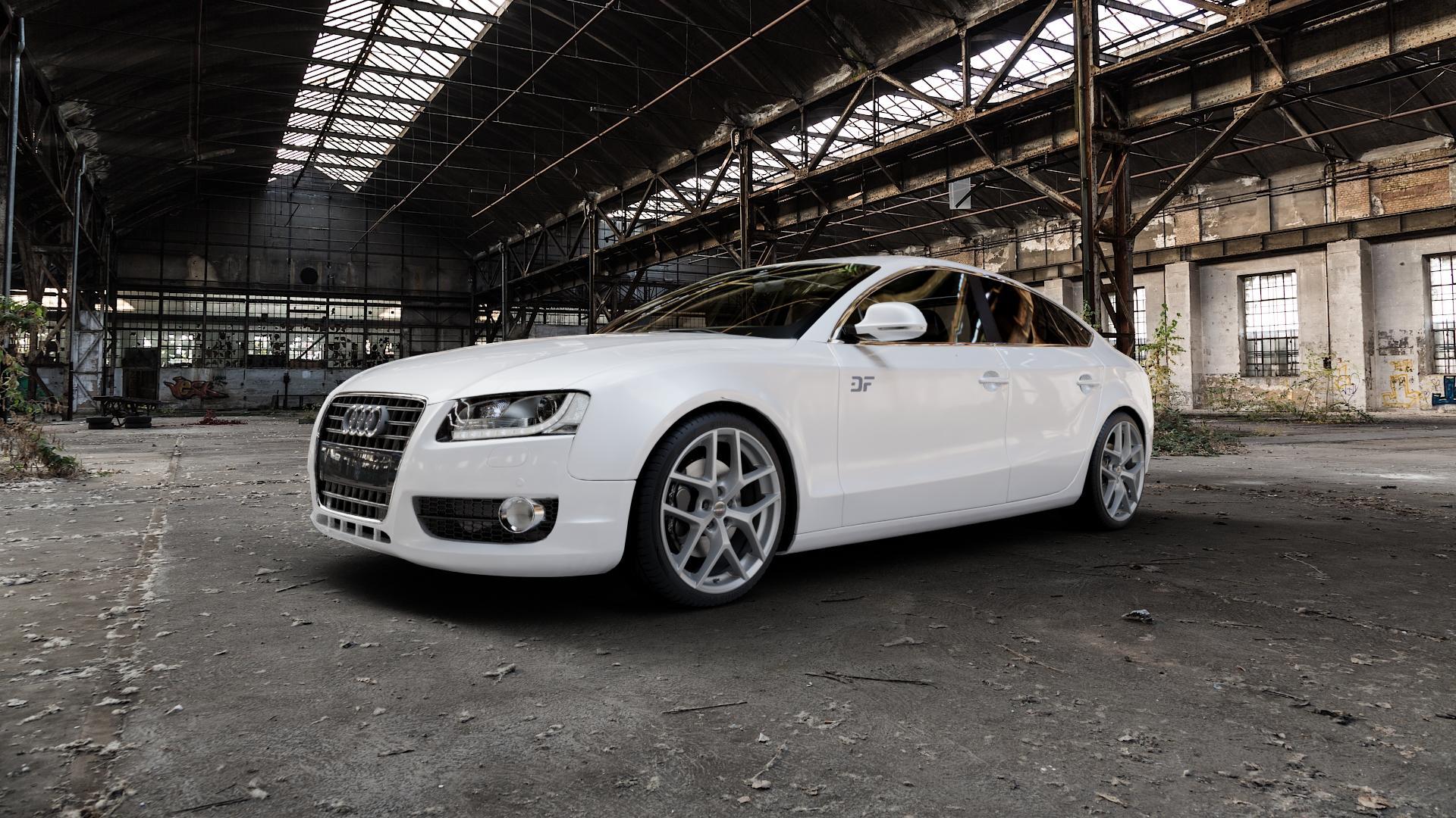 Borbet Y titan matt Felge mit Reifen grau in 19Zoll Winterfelge Alufelge auf weissem Audi A5 Typ B8 (Sportback) ⬇️ mit 15mm Tieferlegung ⬇️ Industriehalle 1 Camera_000