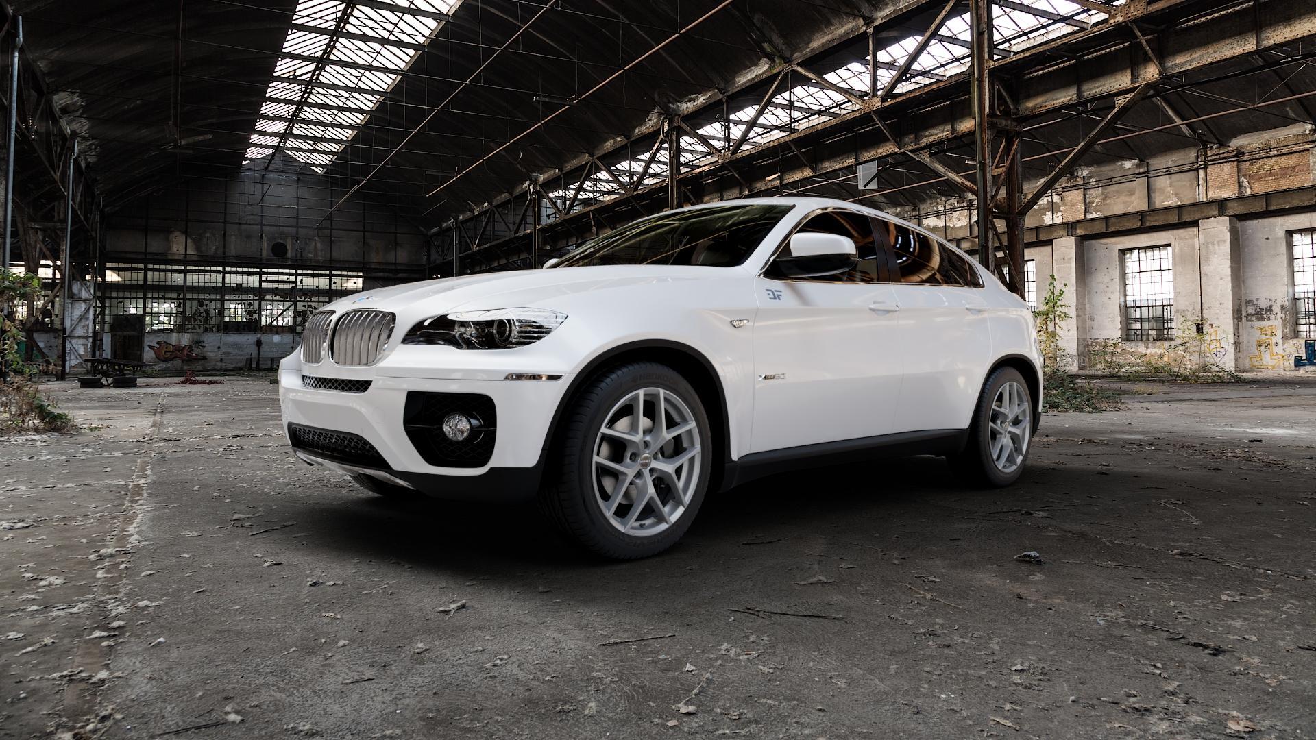 Borbet Y titan matt Felge mit Reifen grau in 19Zoll Winterfelge Alufelge auf weissem BMW X6 Typ E71 (X70, X6, X-N1, HY) ⬇️ mit 15mm Tieferlegung ⬇️ Industriehalle 1 Camera_000