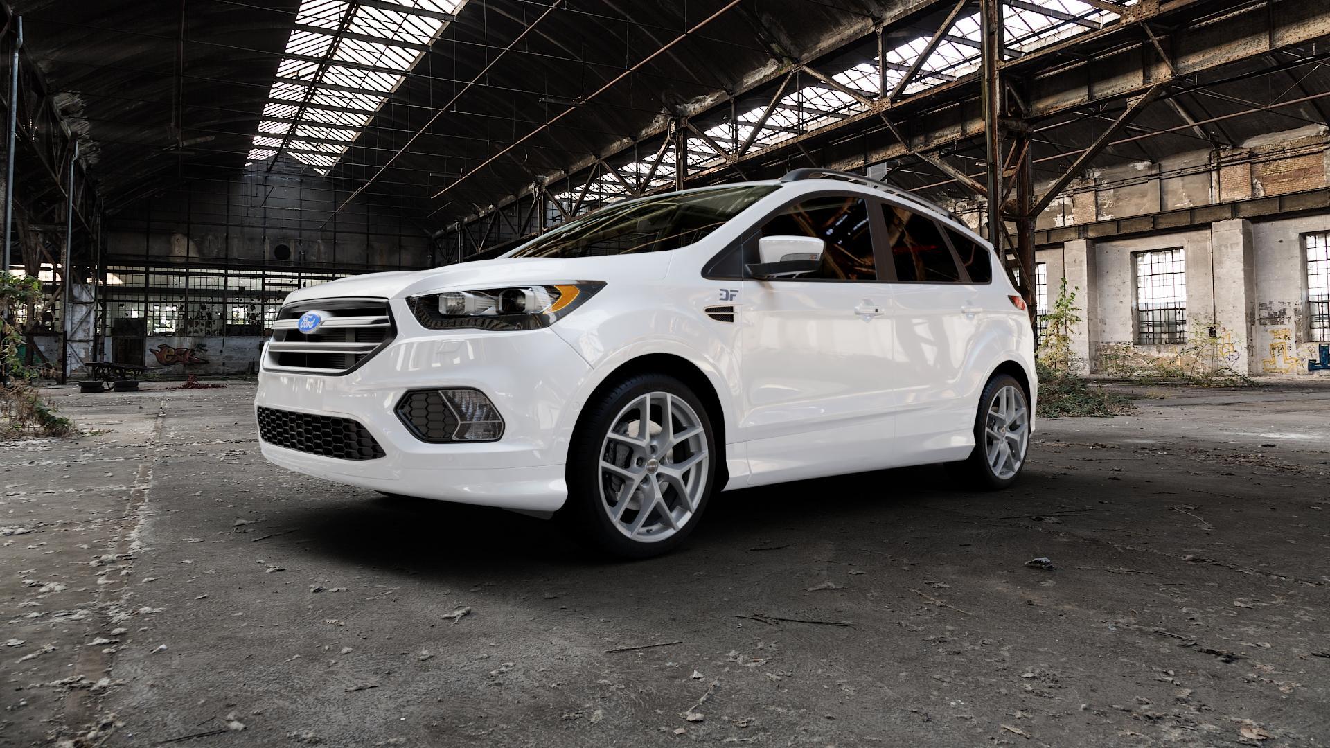 Borbet Y titan matt Felge mit Reifen grau in 19Zoll Winterfelge Alufelge auf weissem Ford Kuga II Facelift (15->) (17->) ⬇️ mit 15mm Tieferlegung ⬇️ Industriehalle 1 Camera_000