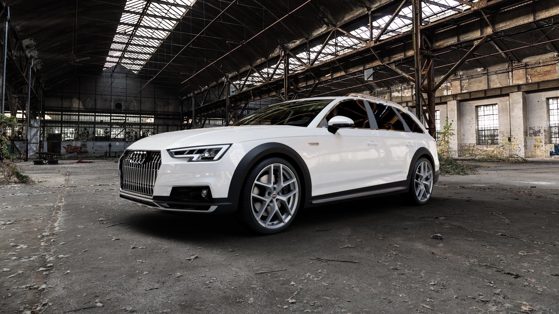 Borbet Y titan matt Felge mit Reifen grau in 20Zoll Winterfelge Alufelge auf weissem Audi A4 Typ B9 Allroad ⬇️ mit 15mm Tieferlegung ⬇️ Industriehalle 1 Camera_000