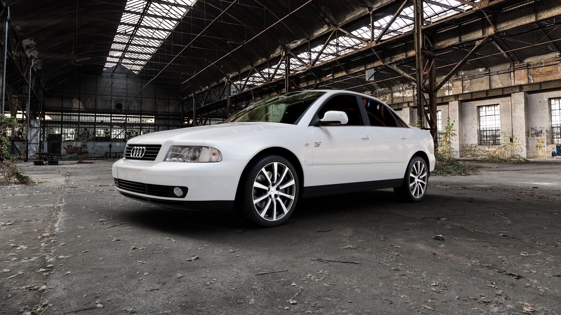 Brock B21 schwarz-matt front-poliert Felge mit Reifen silber mehrfarbig in 18Zoll Alufelge auf weissem Audi A4 Typ 8D2/B5 (Limousine) ⬇️ mit 15mm Tieferlegung ⬇️ Industriehalle 1 Camera_000