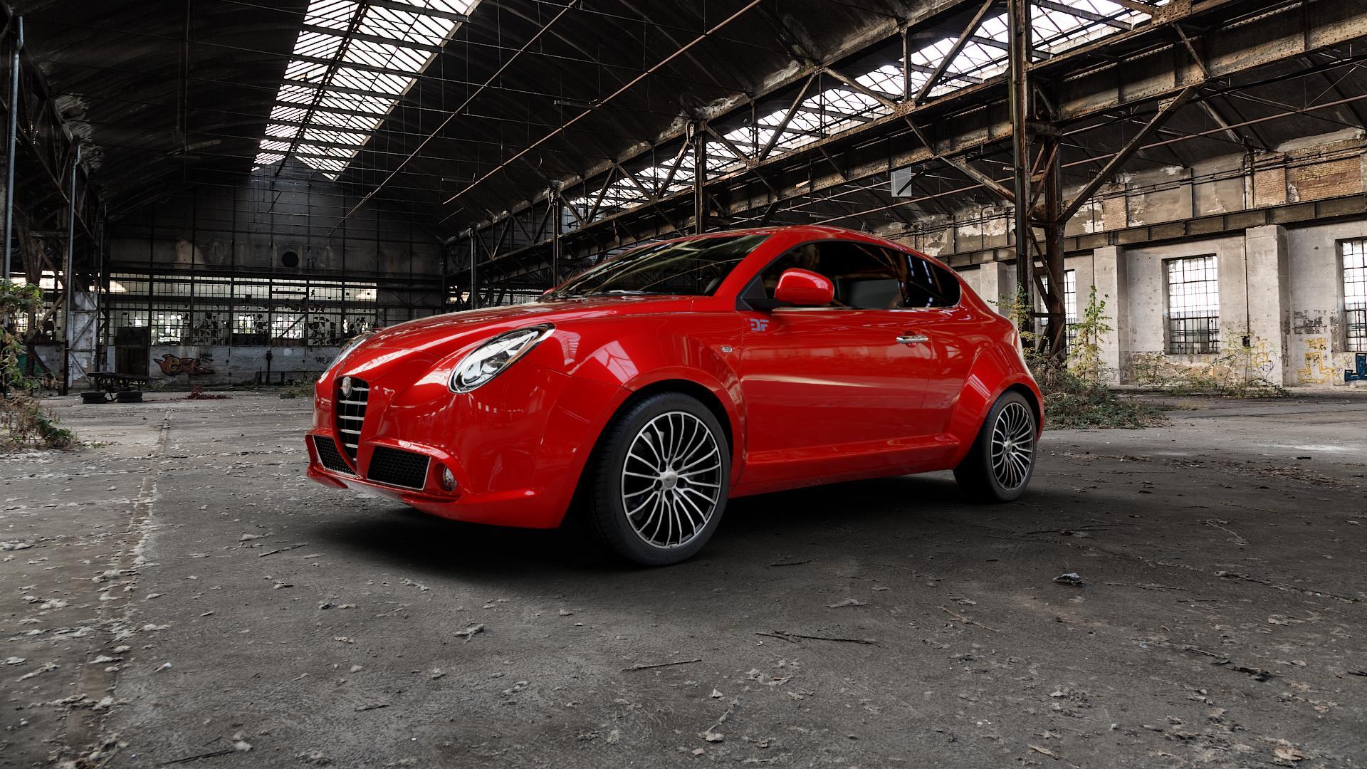 Brock B24 schwarz front-poliert Felge mit Reifen silber mehrfarbig in 17Zoll Alufelge auf rotem Alfa Romeo Mito Typ 955 ⬇️ mit 15mm Tieferlegung ⬇️ Industriehalle 1 Camera_000
