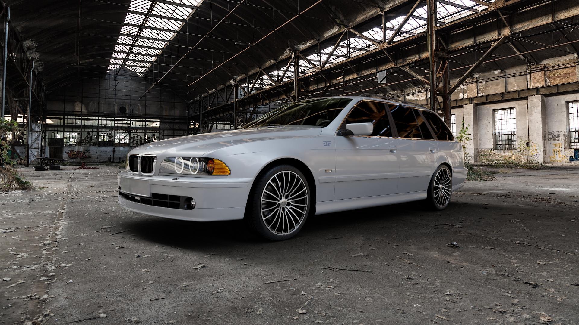 Brock B24 schwarz front-poliert Felge mit Reifen silber mehrfarbig in 19Zoll Alufelge auf silbernem BMW 520i Typ E39 (Limousine) 523i 525i 528i 530i 520d 525tds 530d 525d (Touring) 535i 540i 525td ⬇️ mit 15mm Tieferlegung ⬇️ Industriehalle 1 Camera_000