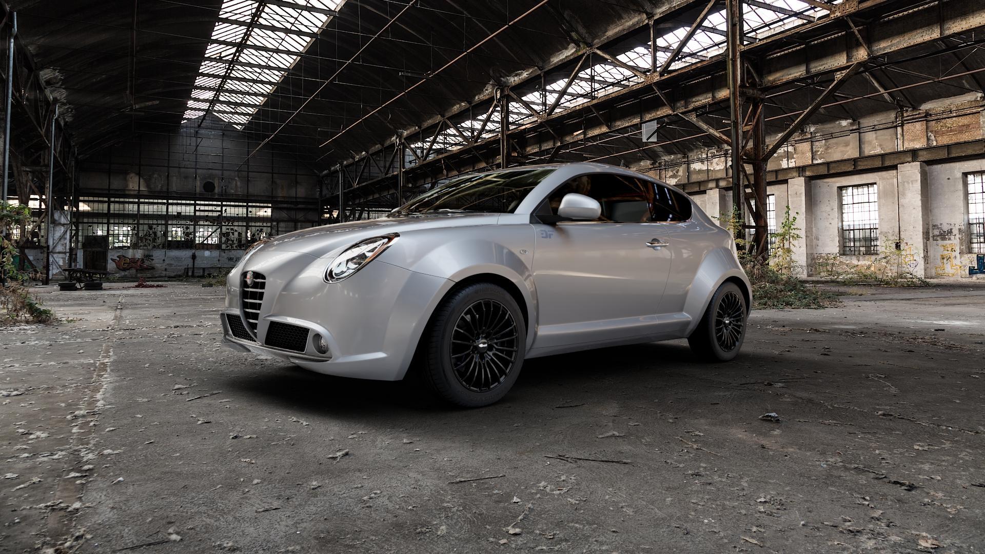 Brock B24 schwarz lackiert Felge mit Reifen in 16Zoll Winterfelge Alufelge auf silbernem Alfa Romeo Mito Typ 955 ⬇️ mit 15mm Tieferlegung ⬇️ Industriehalle 1 Camera_000