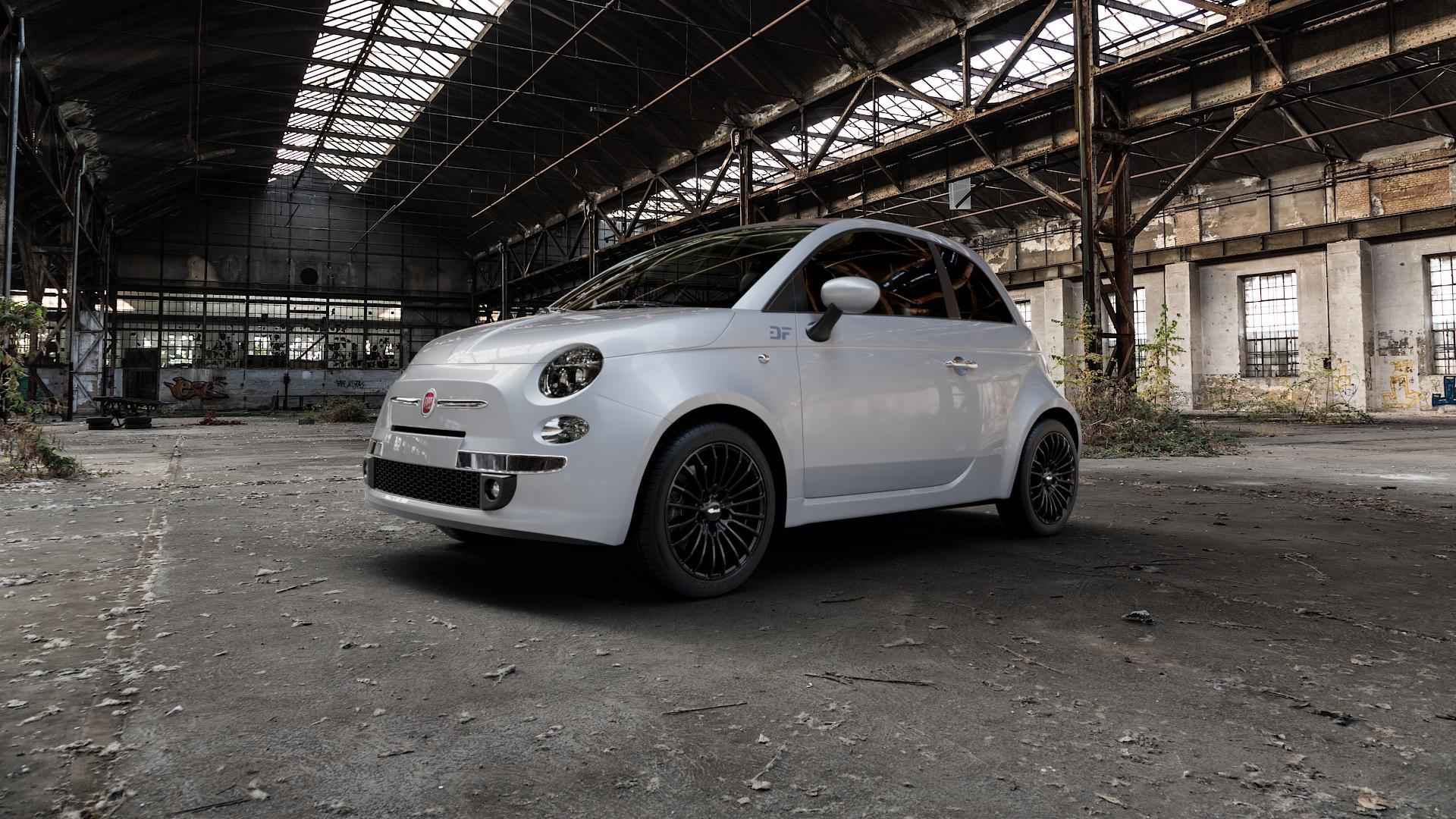 Brock B24 schwarz lackiert Felge mit Reifen in 16Zoll Winterfelge Alufelge auf silbernem Fiat 500 Typ 312 Cabrio Facelift ⬇️ mit 15mm Tieferlegung ⬇️ Industriehalle 1 Camera_000