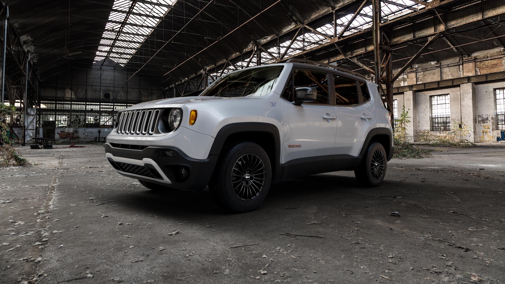 Brock B24 schwarz lackiert Felge mit Reifen in 16Zoll Winterfelge Alufelge auf silbernem Jeep Renegade Typ BU ⬇️ mit 15mm Tieferlegung ⬇️ Industriehalle 1 Camera_000