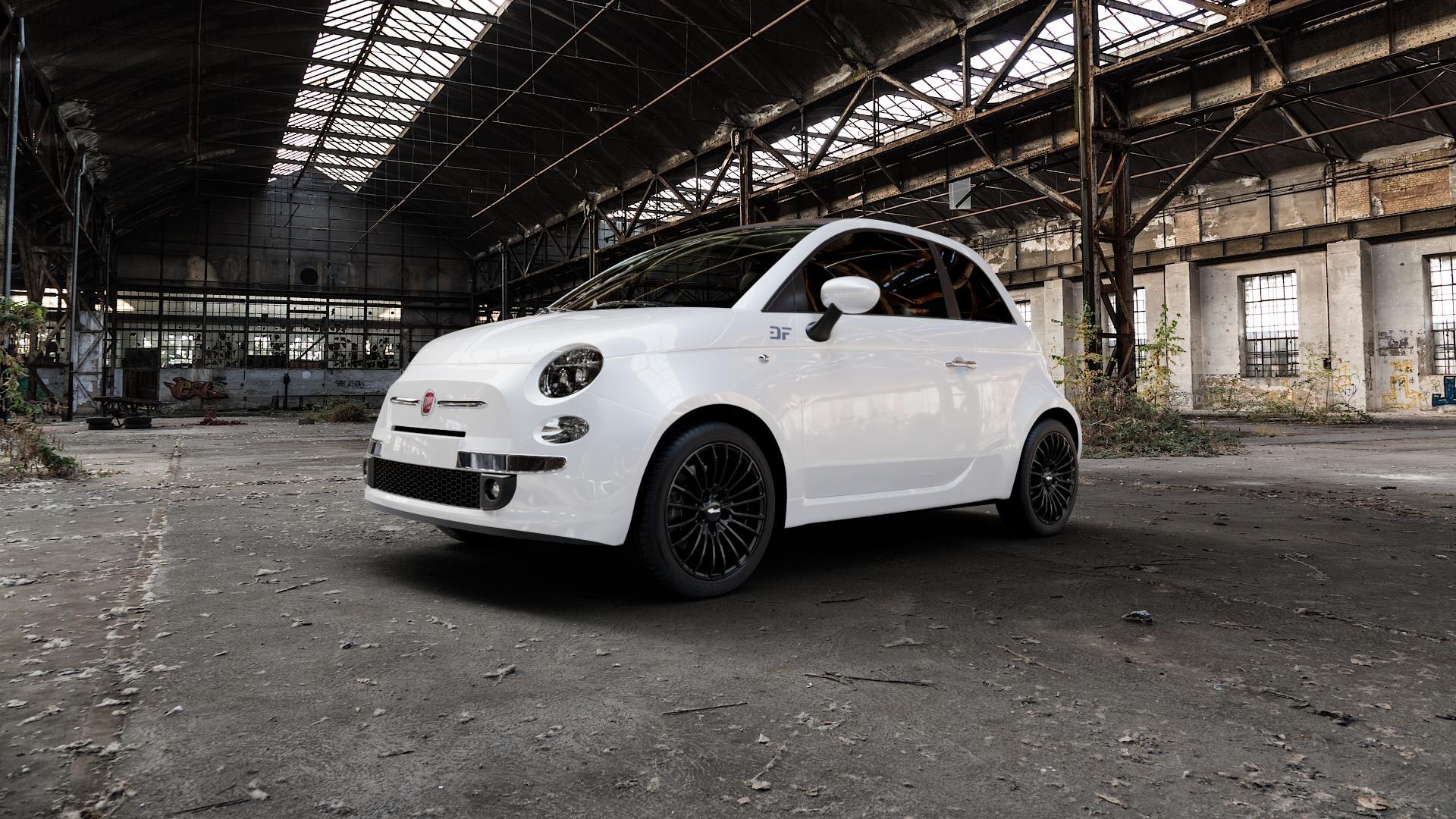 Brock B24 schwarz lackiert Felge mit Reifen in 16Zoll Winterfelge Alufelge auf weissem Fiat 500 Typ 312 Cabrio Facelift ⬇️ mit 15mm Tieferlegung ⬇️ Industriehalle 1 Camera_000