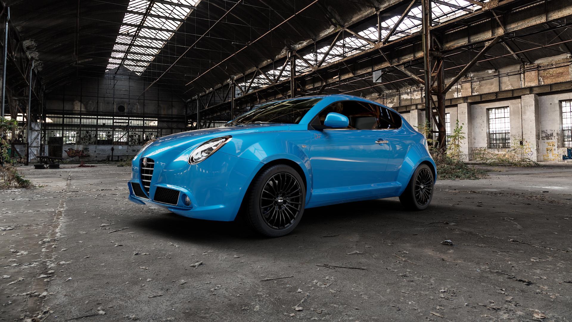 Brock B24 schwarz lackiert Felge mit Reifen in 17Zoll Winterfelge Alufelge auf hellblau Alfa Romeo Mito Typ 955 ⬇️ mit 15mm Tieferlegung ⬇️ Industriehalle 1 Camera_000