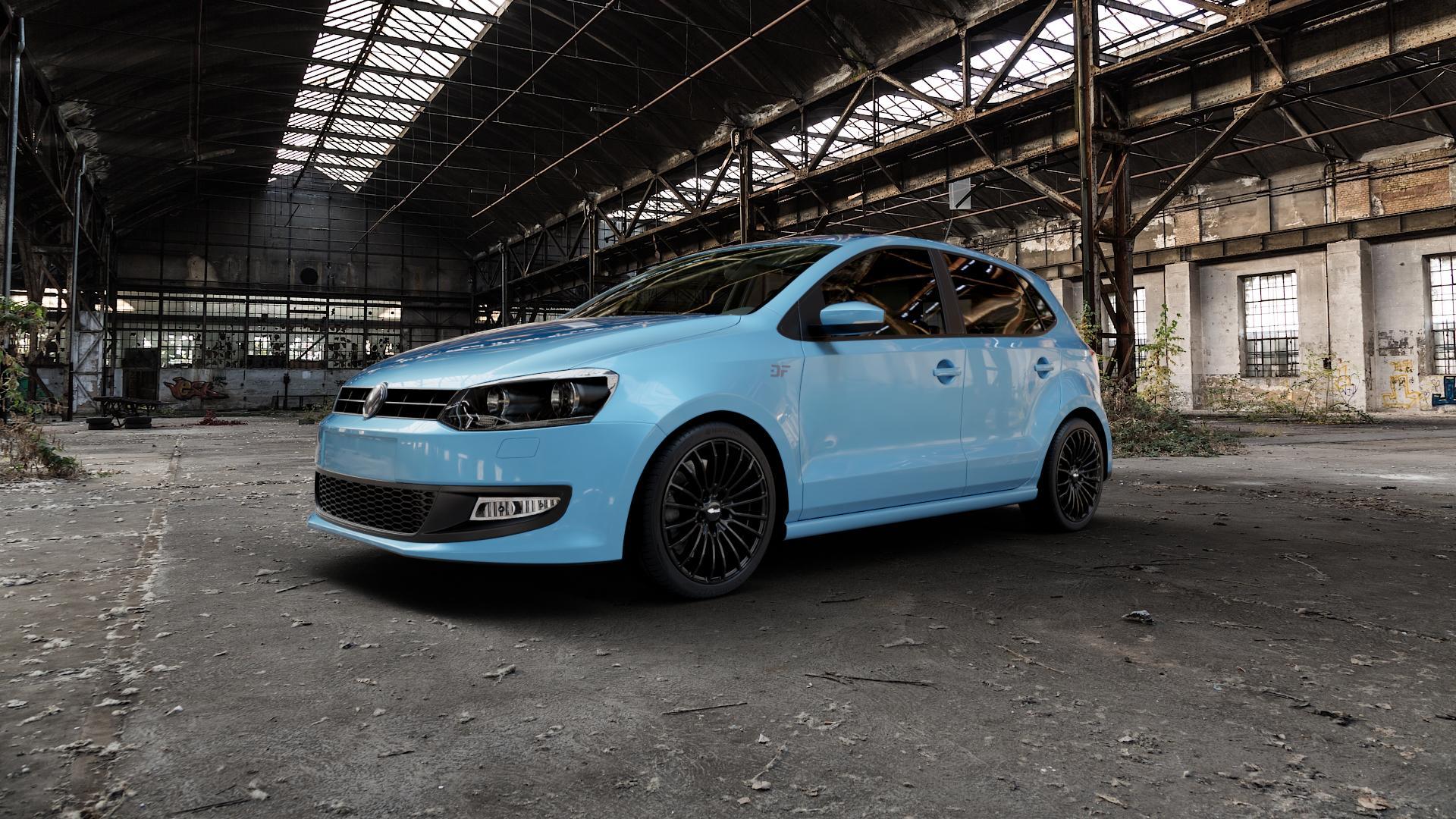 Brock B24 schwarz lackiert Felge mit Reifen in 17Zoll Winterfelge Alufelge auf hellblau Volkswagen (VW) Polo V Typ 6R ⬇️ mit 15mm Tieferlegung ⬇️ Industriehalle 1 Camera_000