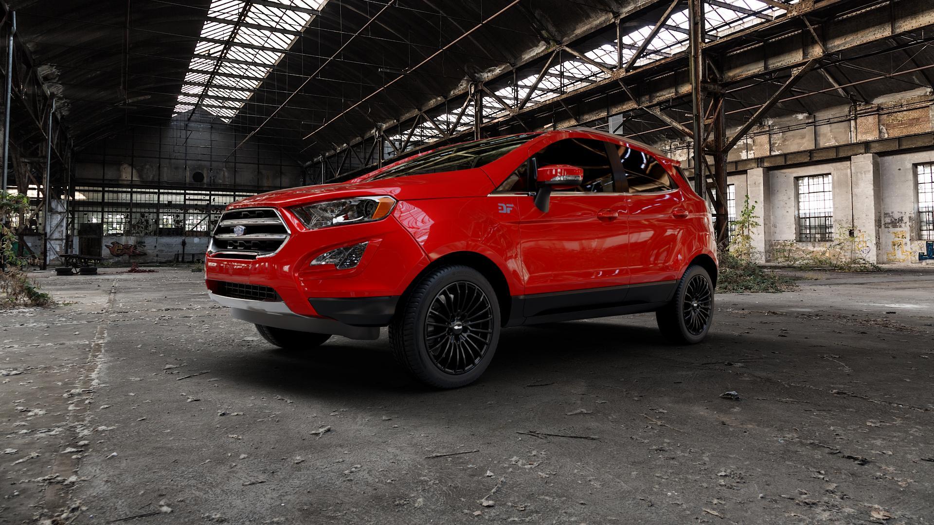 Brock B24 schwarz lackiert Felge mit Reifen in 17Zoll Winterfelge Alufelge auf rotem Ford EcoSport Typ JK8 Facelift ⬇️ mit 15mm Tieferlegung ⬇️ Industriehalle 1 Camera_000
