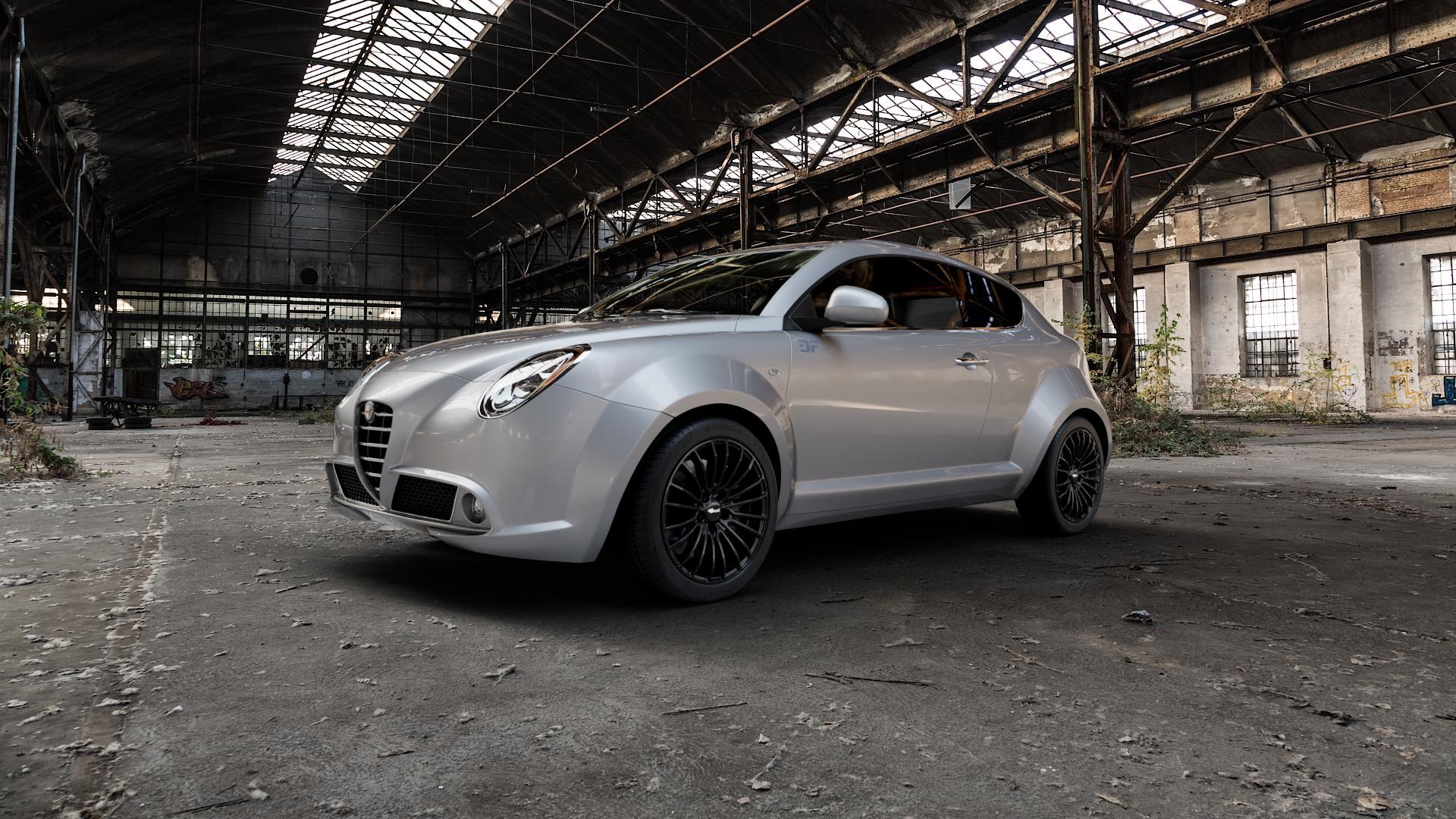 Brock B24 schwarz lackiert Felge mit Reifen in 17Zoll Winterfelge Alufelge auf silbernem Alfa Romeo Mito Typ 955 ⬇️ mit 15mm Tieferlegung ⬇️ Industriehalle 1 Camera_000