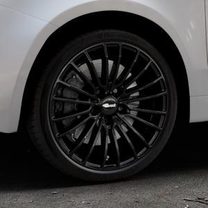Brock B24 schwarz lackiert Felge mit Reifen in 17Zoll Winterfelge Alufelge auf silbernem Fiat 500 Typ 312 Cabrio Facelift ⬇️ mit 15mm Tieferlegung ⬇️ Industriehalle 1 Thumbnail