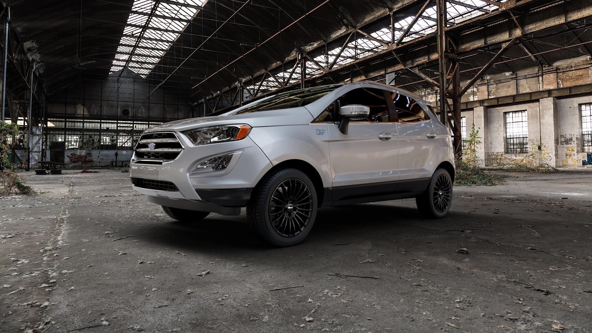 Brock B24 schwarz lackiert Felge mit Reifen in 17Zoll Winterfelge Alufelge auf silbernem Ford EcoSport Typ JK8 Facelift ⬇️ mit 15mm Tieferlegung ⬇️ Industriehalle 1 Camera_000