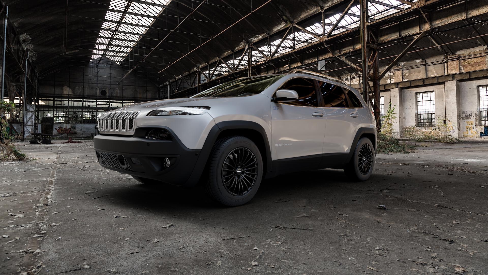 Brock B24 schwarz lackiert Felge mit Reifen in 17Zoll Winterfelge Alufelge auf silbernem Jeep Cherokee Typ KL Trailhawk ⬇️ mit 15mm Tieferlegung ⬇️ Industriehalle 1 Camera_000