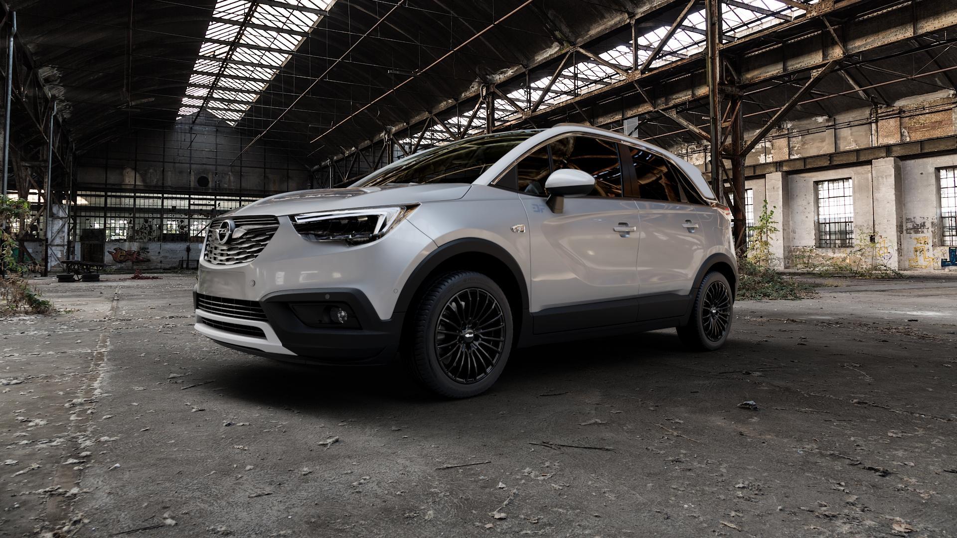 Brock B24 schwarz lackiert Felge mit Reifen in 17Zoll Winterfelge Alufelge auf silbernem Opel Crossland X ⬇️ mit 15mm Tieferlegung ⬇️ Industriehalle 1 Camera_000