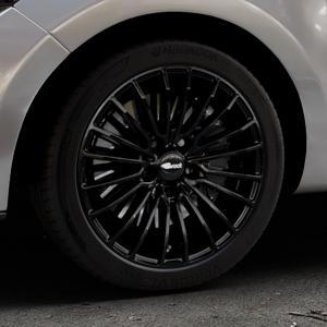 Brock B24 schwarz lackiert Felge mit Reifen in 17Zoll Winterfelge Alufelge auf silbernem Renault Clio IV Typ R ⬇️ mit 15mm Tieferlegung ⬇️ Industriehalle 1 Thumbnail