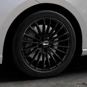 Brock B24 schwarz lackiert Felge mit Reifen in 17Zoll Winterfelge Alufelge auf silbernem Seat Ibiza V Typ KJ ⬇️ mit 15mm Tieferlegung ⬇️ Industriehalle 1 Thumbnail
