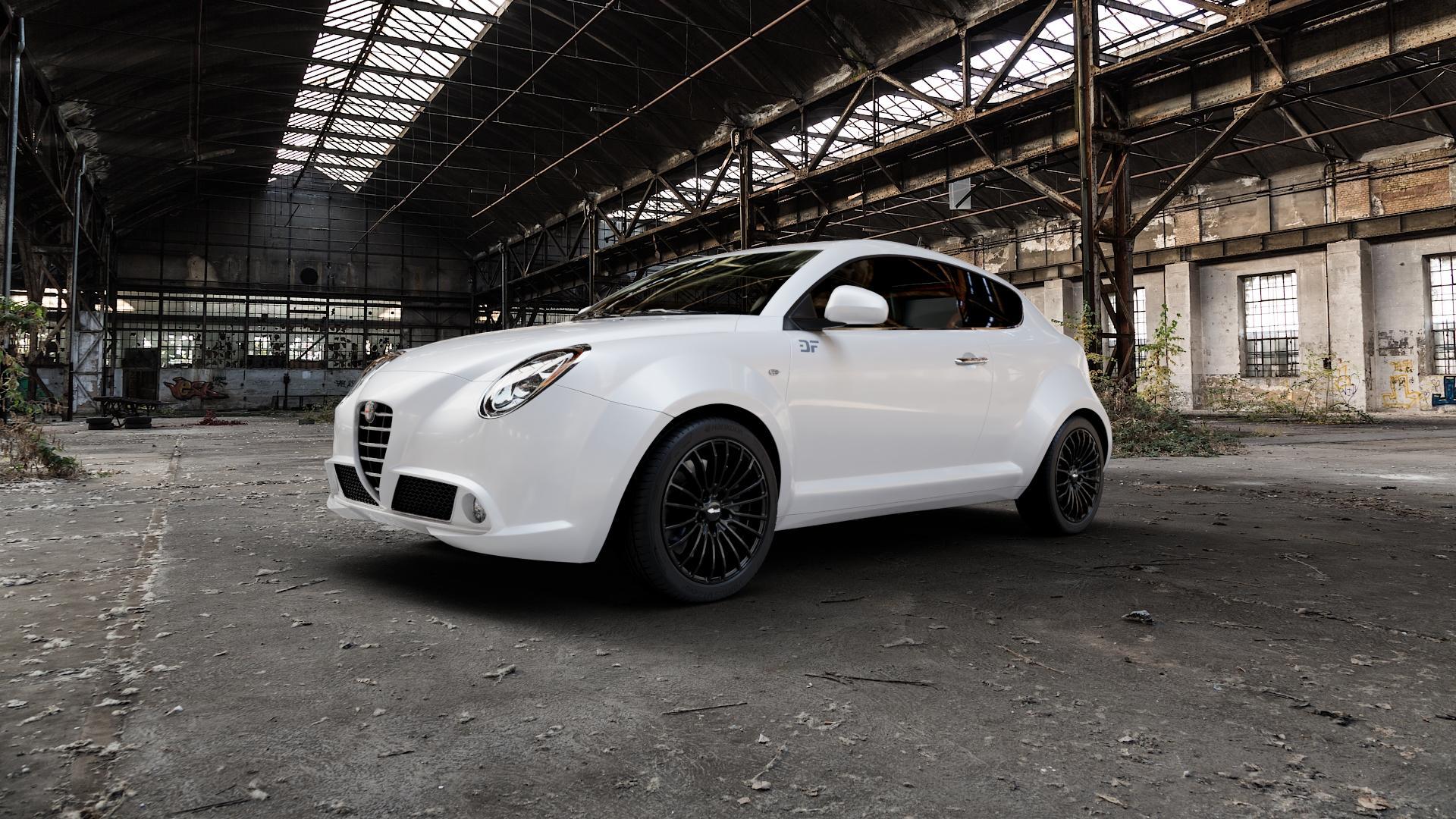 Brock B24 schwarz lackiert Felge mit Reifen in 17Zoll Winterfelge Alufelge auf weissem Alfa Romeo Mito Typ 955 ⬇️ mit 15mm Tieferlegung ⬇️ Industriehalle 1 Camera_000