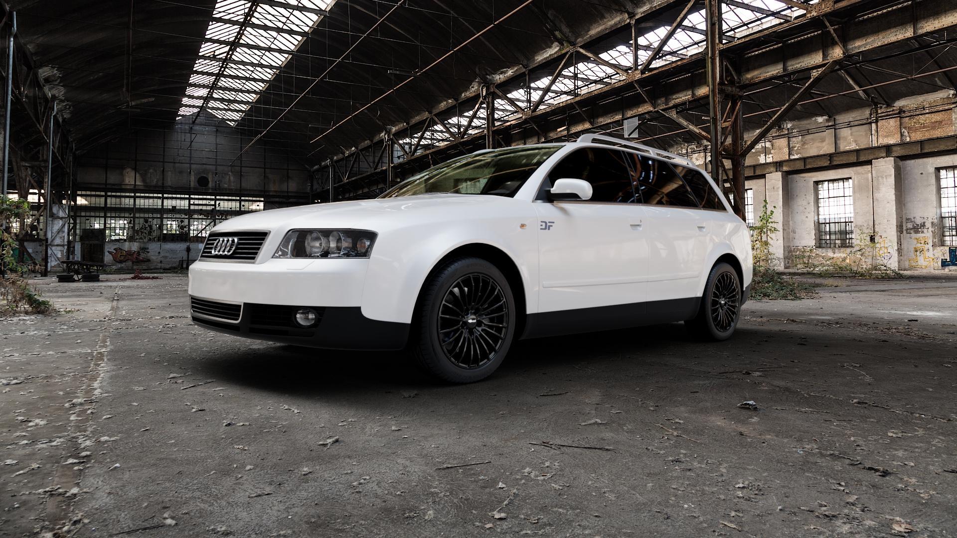 Brock B24 schwarz lackiert Felge mit Reifen in 17Zoll Winterfelge Alufelge auf weissem Audi A4 Typ 8E5/B6 (Avant) ⬇️ mit 15mm Tieferlegung ⬇️ Industriehalle 1 Camera_000