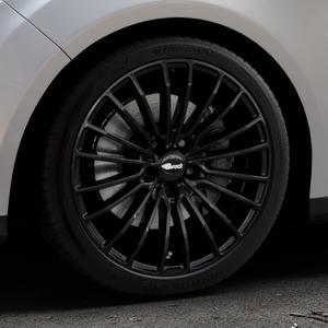 Brock B24 schwarz lackiert Felge mit Reifen in 18Zoll Winterfelge Alufelge auf silbernem Ford Focus III Typ DYB (Turnier) ⬇️ mit 15mm Tieferlegung ⬇️ Industriehalle 1 Thumbnail