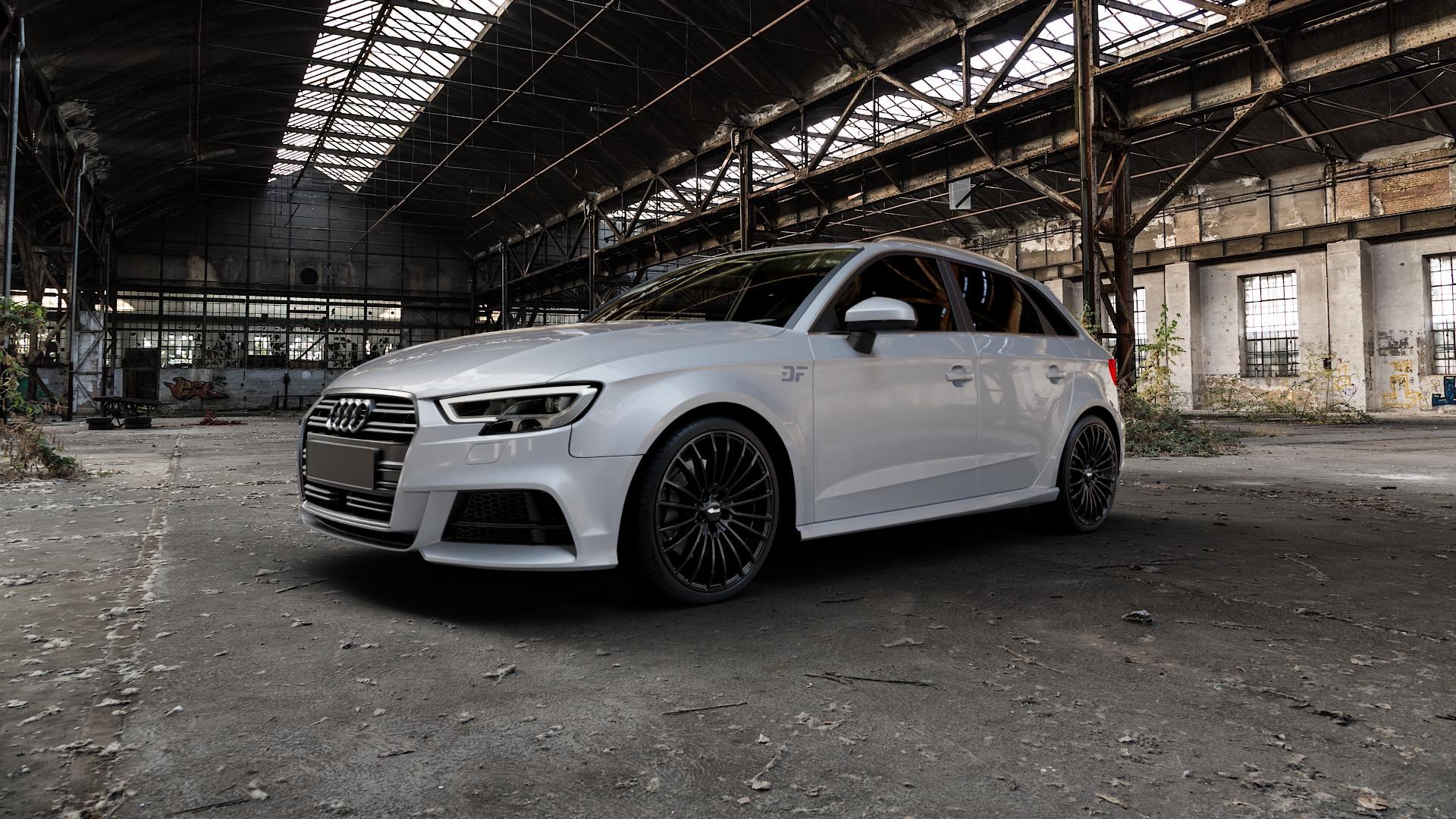 Brock B24 schwarz lackiert Felge mit Reifen in 19Zoll Winterfelge Alufelge auf silbernem Audi A3 Typ 8V (Sportback) Facelift ⬇️ mit 15mm Tieferlegung ⬇️ Industriehalle 1 Camera_000