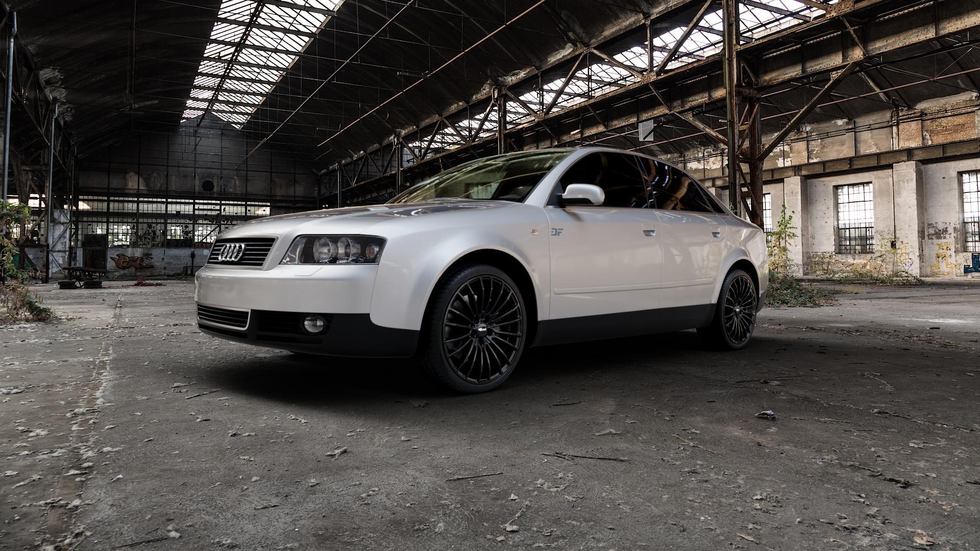 Brock B24 schwarz lackiert Felge mit Reifen in 19Zoll Winterfelge Alufelge auf silbernem Audi A4 Typ 8E2/B6 (Limousine) ⬇️ mit 15mm Tieferlegung ⬇️ Industriehalle 1 Camera_000