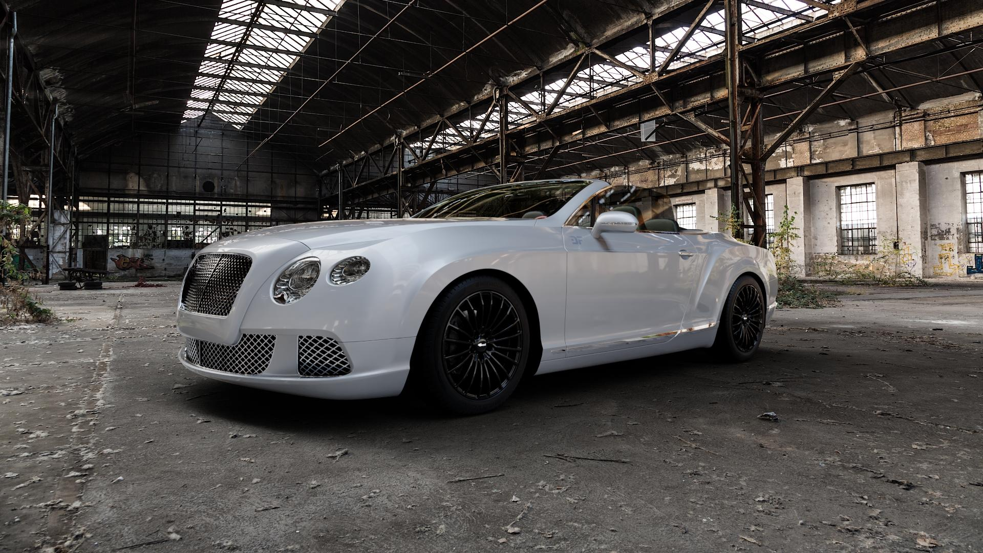 Brock B24 schwarz lackiert Felge mit Reifen in 19Zoll Winterfelge Alufelge auf silbernem Bentley Continental Flying Spur GT GTC ⬇️ mit 15mm Tieferlegung ⬇️ Industriehalle 1 Camera_000
