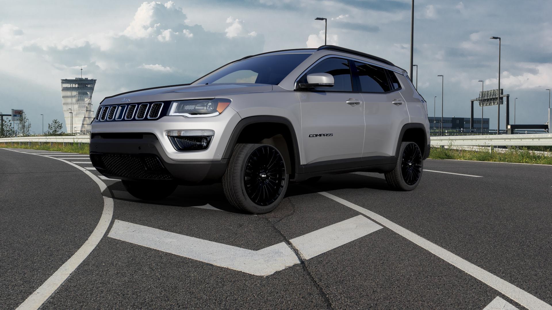 Brock B24 schwarz lackiert Felge mit Reifen in 19Zoll Winterfelge Alufelge auf silbernem Jeep Compass III Typ MX ⬇️ mit 15mm Tieferlegung ⬇️ Autobahn_1 Camera_000