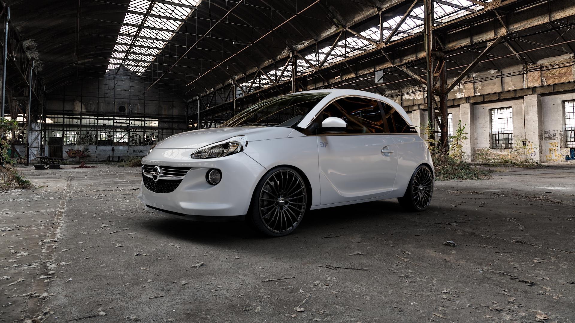 Brock B24 schwarz lackiert Felge mit Reifen in 19Zoll Winterfelge Alufelge auf silbernem Opel Adam ⬇️ mit 15mm Tieferlegung ⬇️ Industriehalle 1 Camera_000