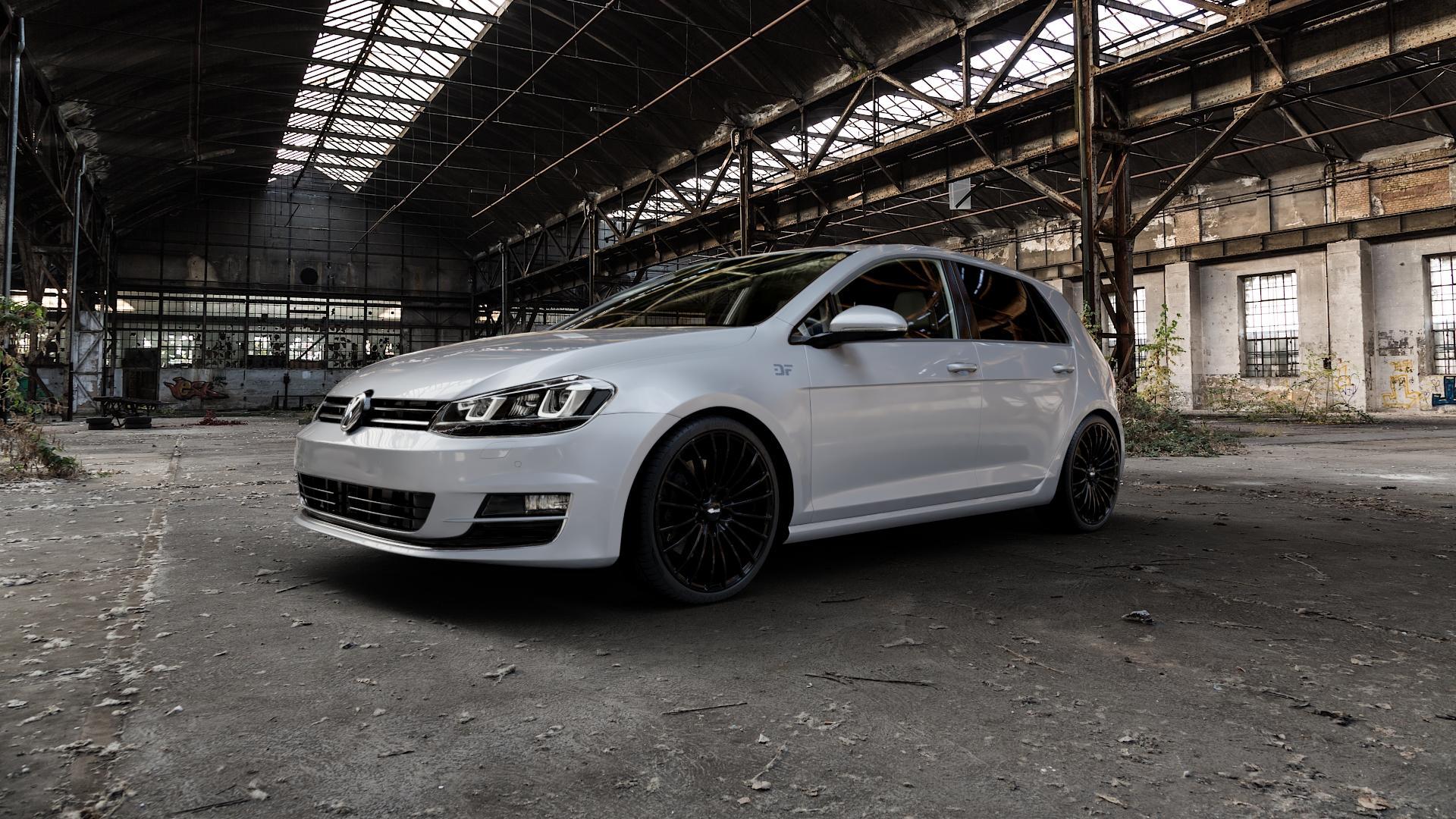 Brock B24 schwarz lackiert Felge mit Reifen in 19Zoll Winterfelge Alufelge auf silbernem Volkswagen (VW) Golf 7 ⬇️ mit 15mm Tieferlegung ⬇️ Industriehalle 1 Camera_000