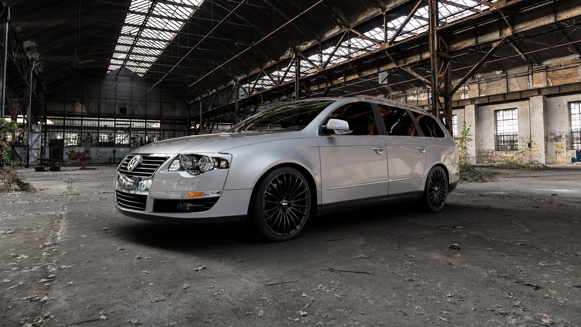 Brock B24 schwarz lackiert Felge mit Reifen in 19Zoll Winterfelge Alufelge auf silbernem Volkswagen (VW) Passat 3C/B6 Variant ⬇️ mit 15mm Tieferlegung ⬇️ Industriehalle 1 Camera_000