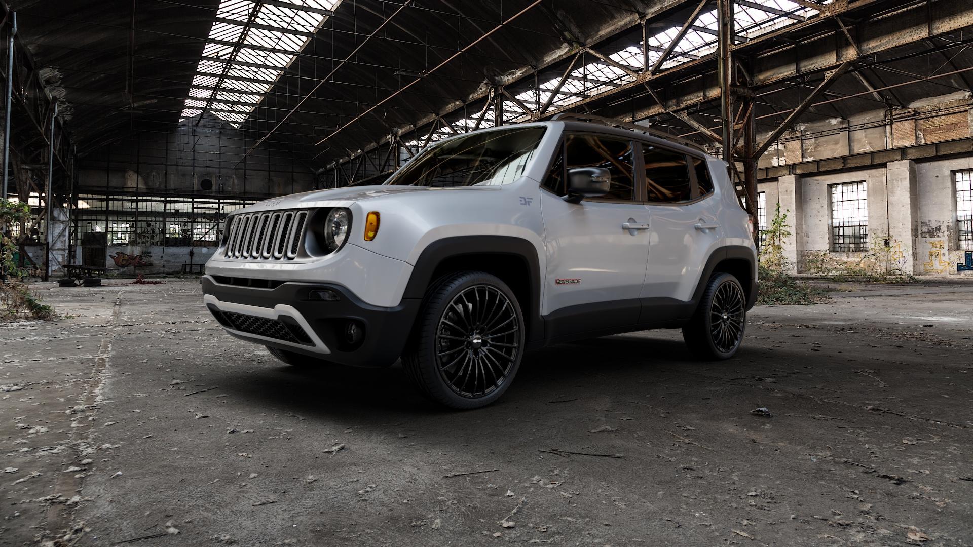 Brock B24 schwarz lackiert Felge mit Reifen in 20Zoll Winterfelge Alufelge auf silbernem Jeep Renegade Typ BU ⬇️ mit 15mm Tieferlegung ⬇️ Industriehalle 1 Camera_000