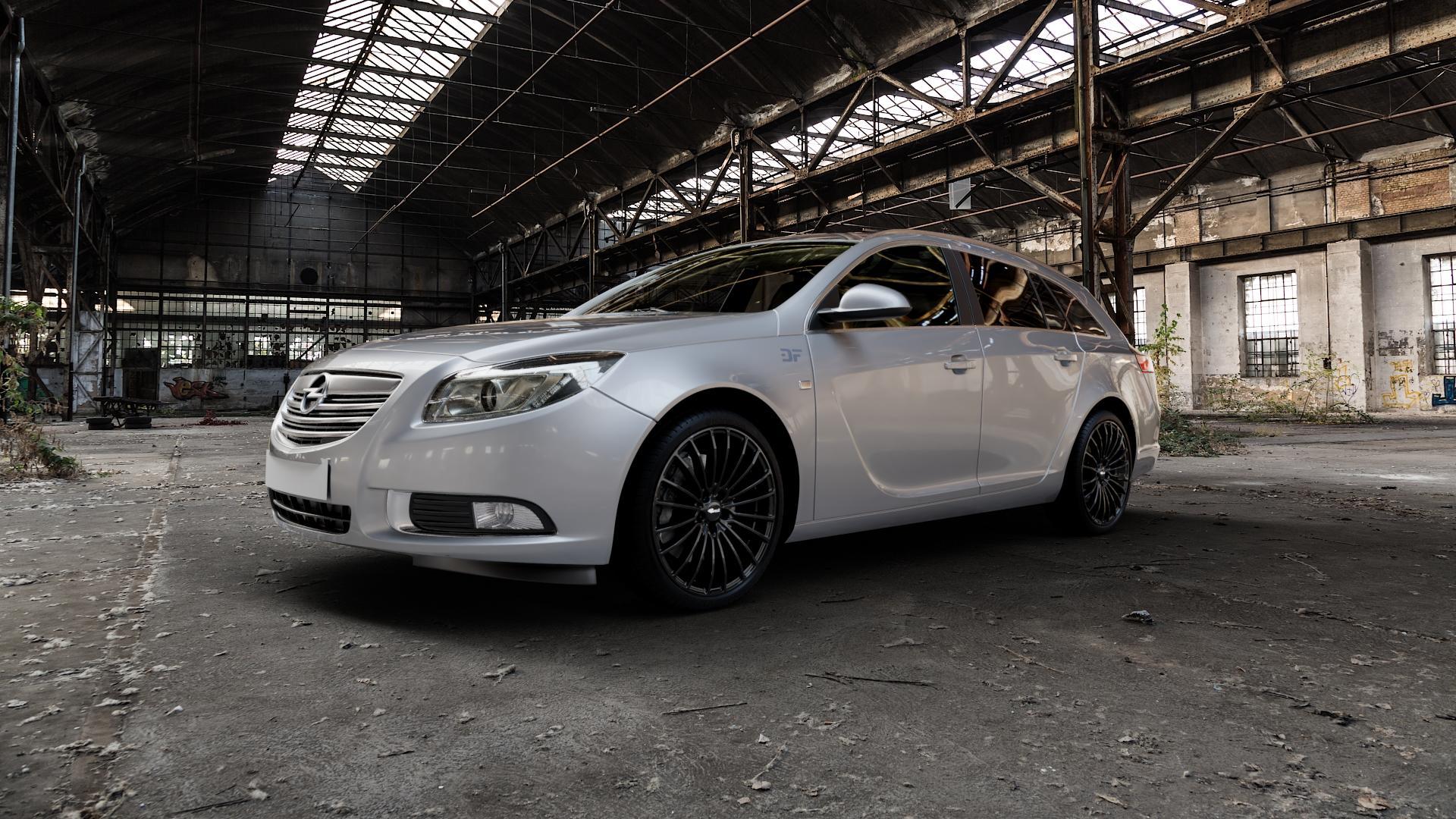 Brock B24 schwarz lackiert Felge mit Reifen in 20Zoll Winterfelge Alufelge auf silbernem Opel Insignia I Sports Tourer Facelift ⬇️ mit 15mm Tieferlegung ⬇️ Industriehalle 1 Camera_000