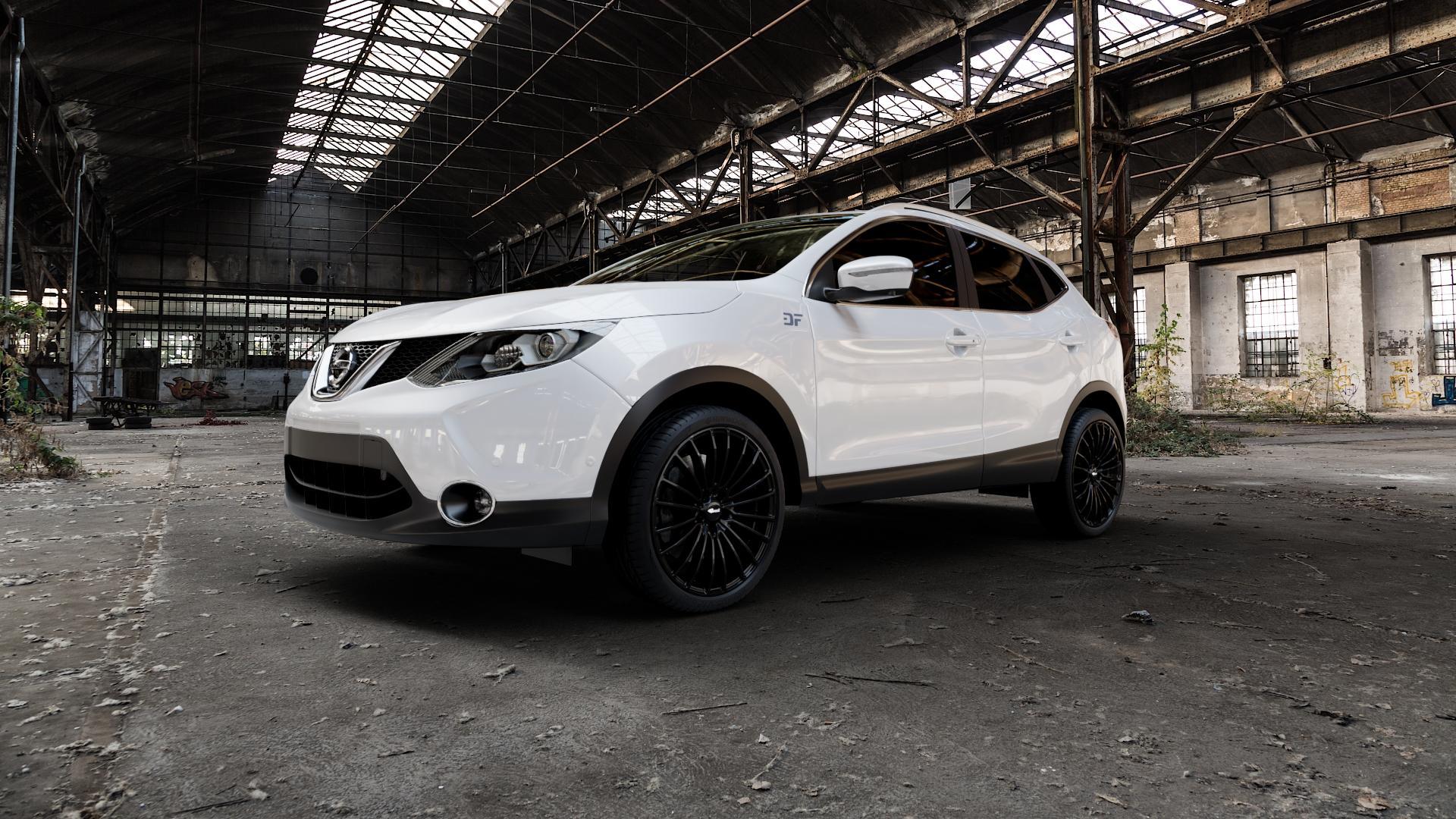 Brock B24 schwarz lackiert Felge mit Reifen in 20Zoll Winterfelge Alufelge auf weissem Nissan Qashqai Typ J11 Facelift ⬇️ mit 15mm Tieferlegung ⬇️ Industriehalle 1 Camera_000