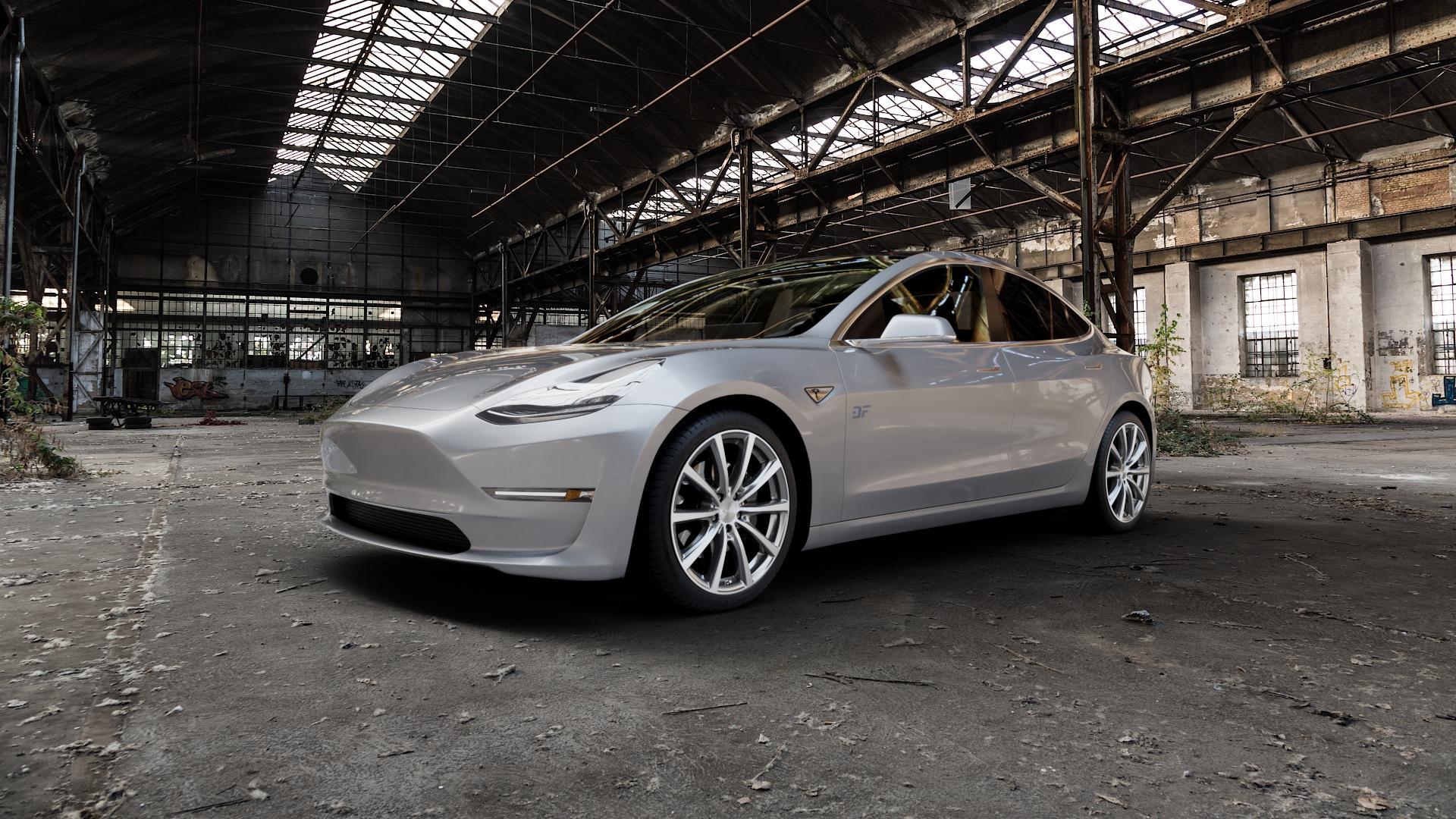 Brock B32 himalaya-grey front-poliert Felge mit Reifen grau mehrfarbig in 19Zoll Alufelge auf silbernem Tesla Model 3 Typ 003 ⬇️ mit 15mm Tieferlegung ⬇️ Industriehalle 1 Camera_000