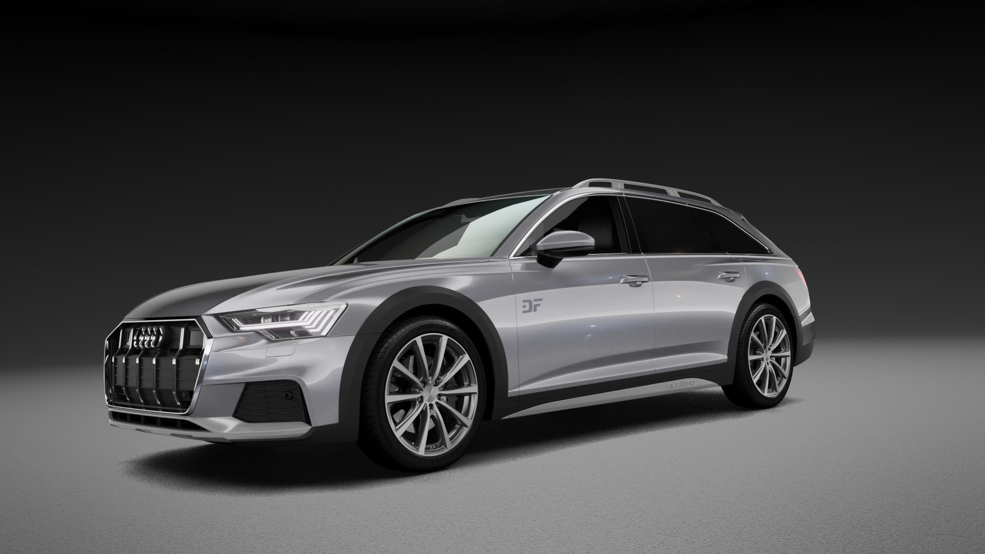 Brock B32 himalaya-grey front-poliert Felge mit Reifen grau mehrfarbig in 20Zoll Alufelge auf silbernem Audi A6 Allroad Quattro Typ F2/C8 ⬇️ mit 15mm Tieferlegung ⬇️ Neutral_mid_max5300mm Frontansicht_1