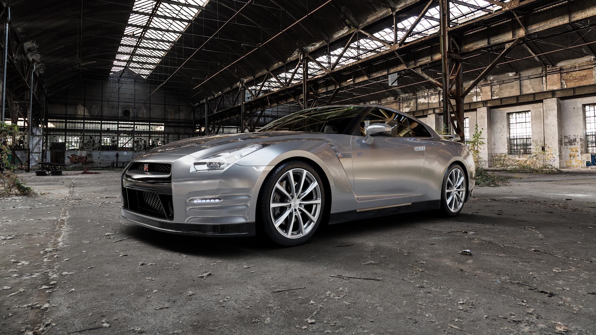 Brock B32 himalaya-grey front-poliert Felge mit Reifen grau mehrfarbig in 20Zoll Alufelge auf silbernem Nissan GT-R ⬇️ mit 15mm Tieferlegung ⬇️ Industriehalle 1 Camera_000