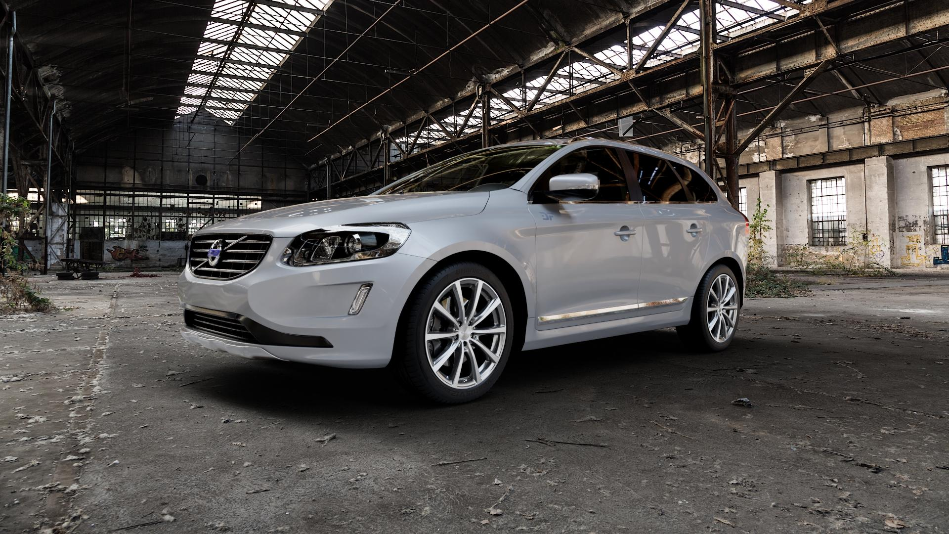Brock B32 himalaya-grey front-poliert Felge mit Reifen grau mehrfarbig in 20Zoll Alufelge auf silbernem Volvo XC60 Typ D Facelift ⬇️ mit 15mm Tieferlegung ⬇️ Industriehalle 1 Camera_000